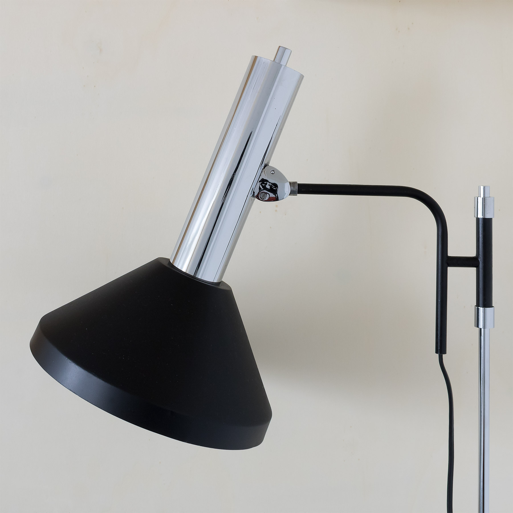 1970's black and chrome, industrial style metal floor lamp