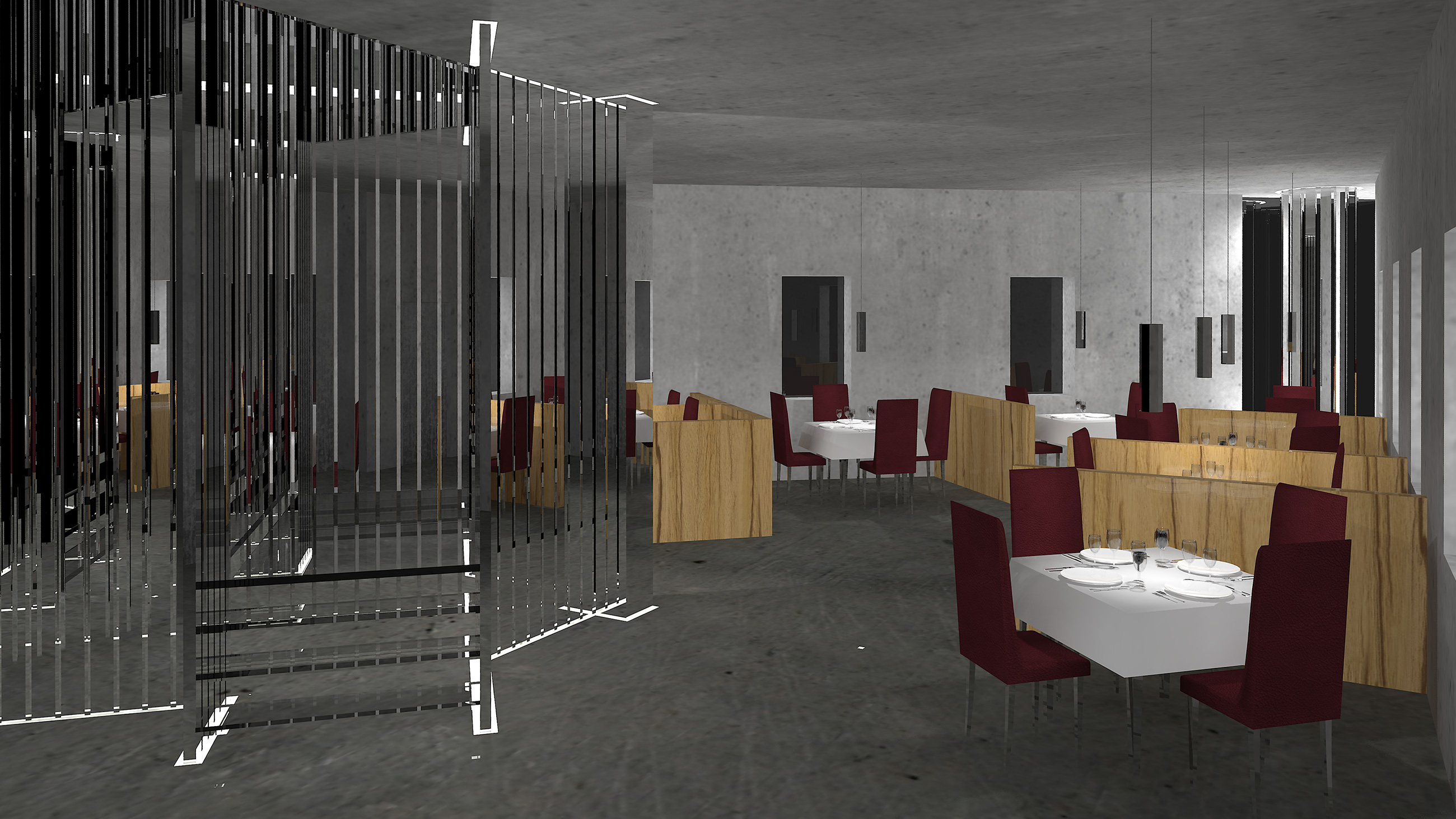Art deco restaurant entrance with concrete walls, oak partitions, glass staircase, chrome columns and oxblood leather seats