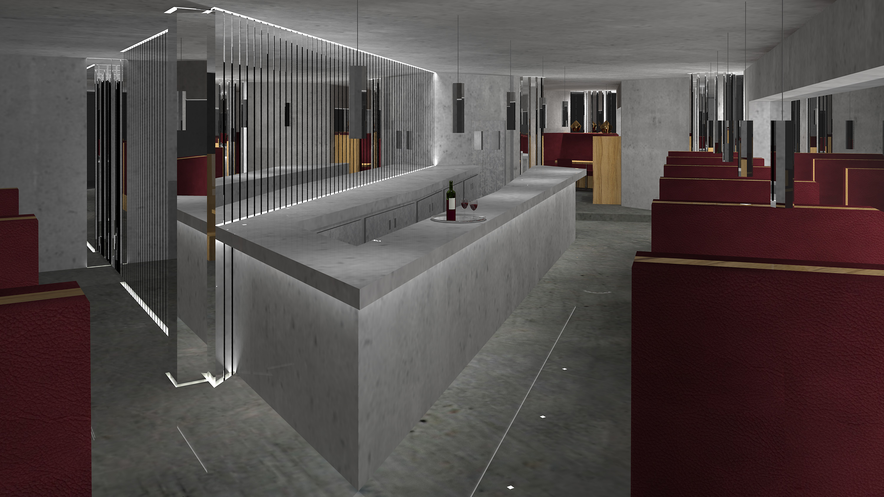 Art deco cocktail bar with concrete walls, chrome bars, pendants and oxblood leather seats