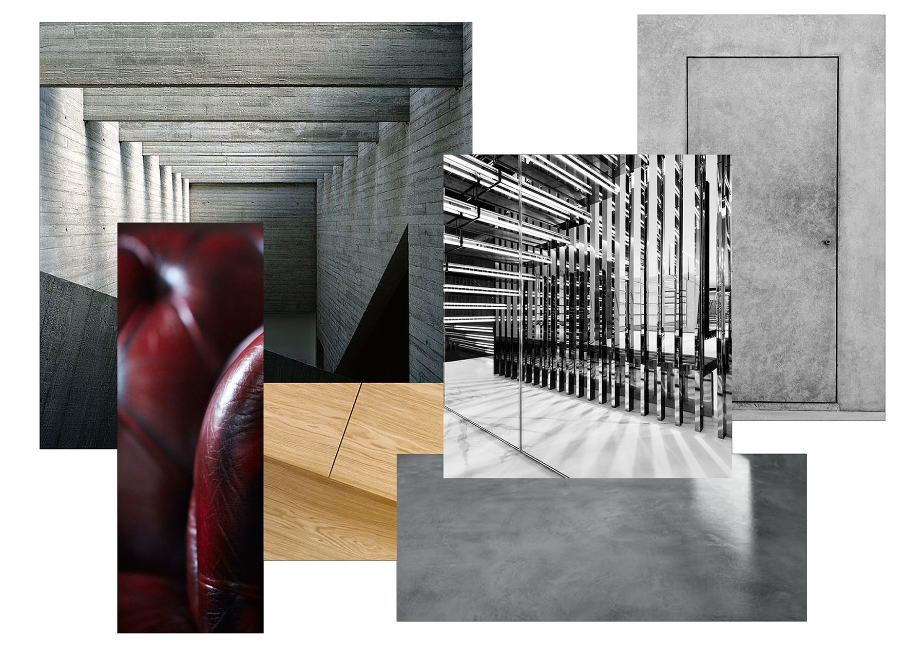 Interior design sample board - concrete, chrome bars, minimal door, oxblood leather and oak wood