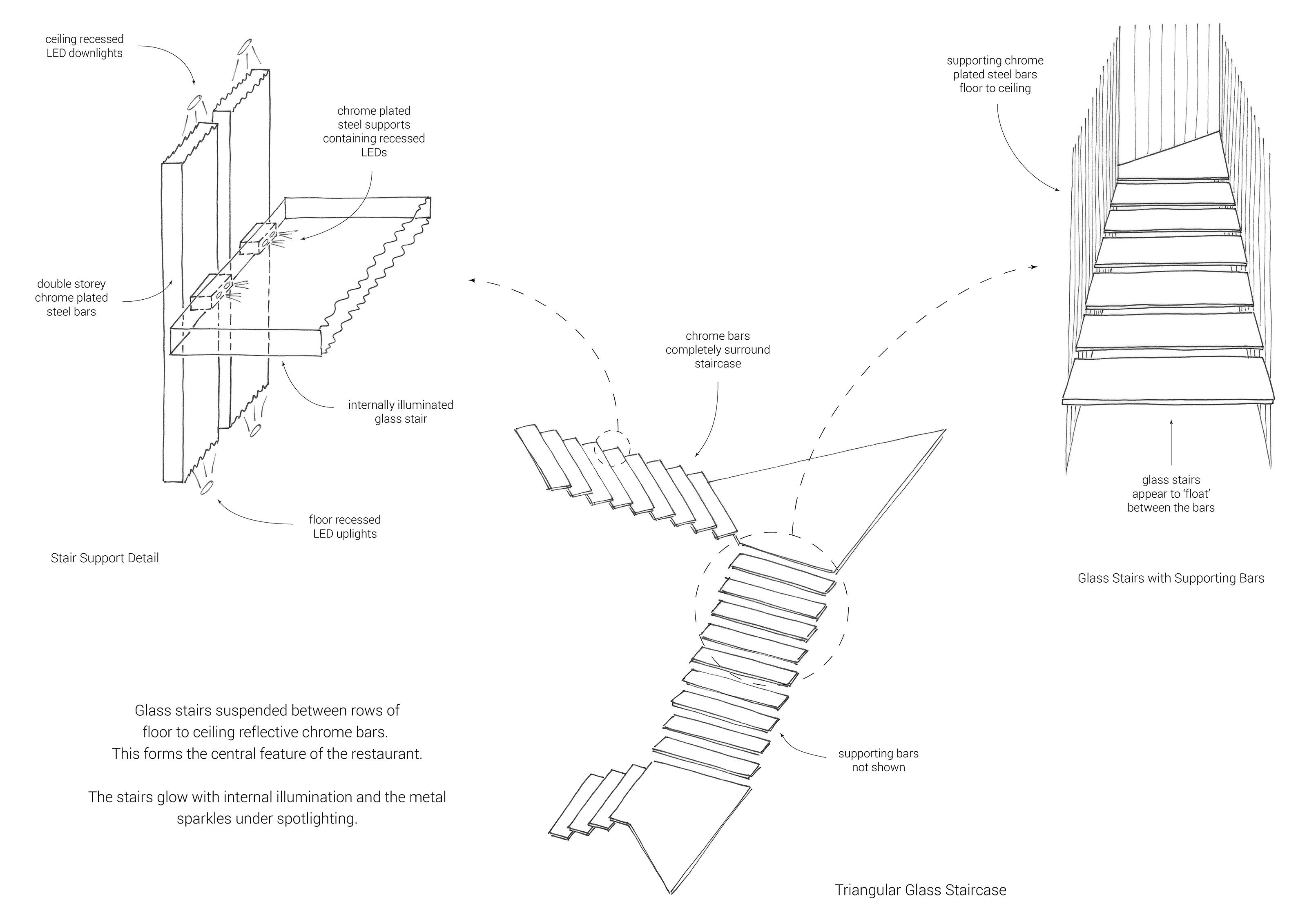 Interior design development sketch for triangular glass staircase