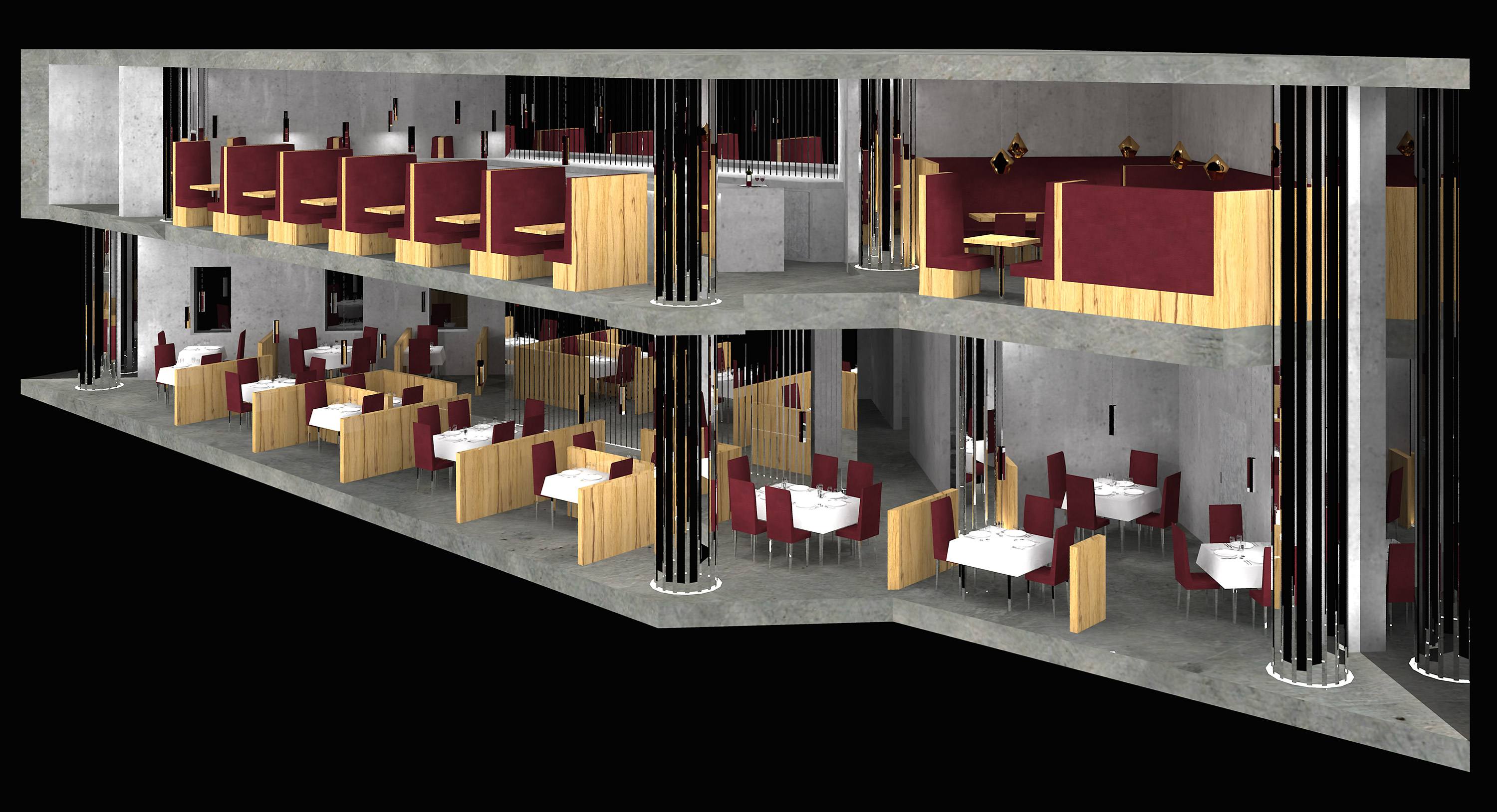 3D photorealistic model of Art deco restaurant and bar using SketchUp and Vray