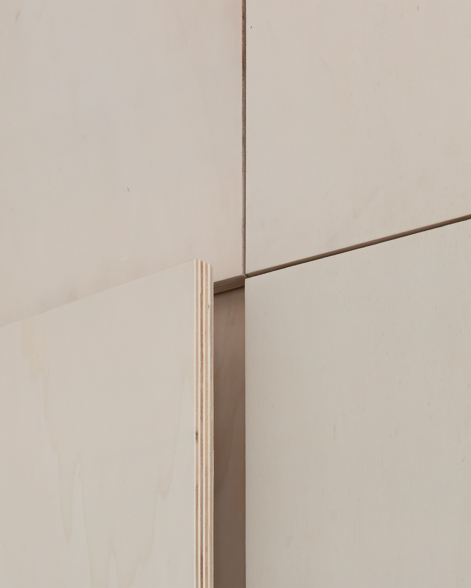 Plywood kitchen cabinet detail