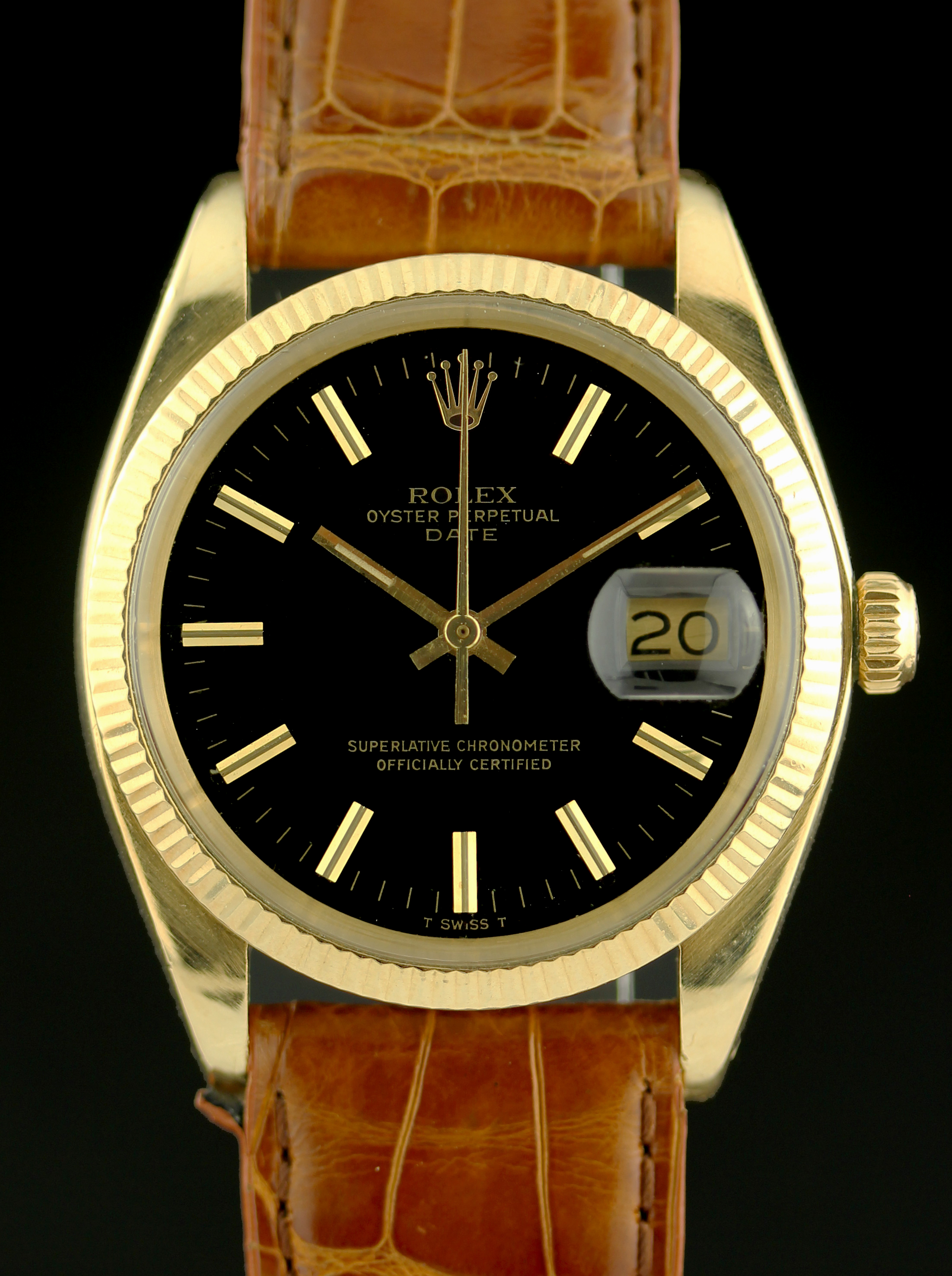 Rolex Date in gold with rare black dial
