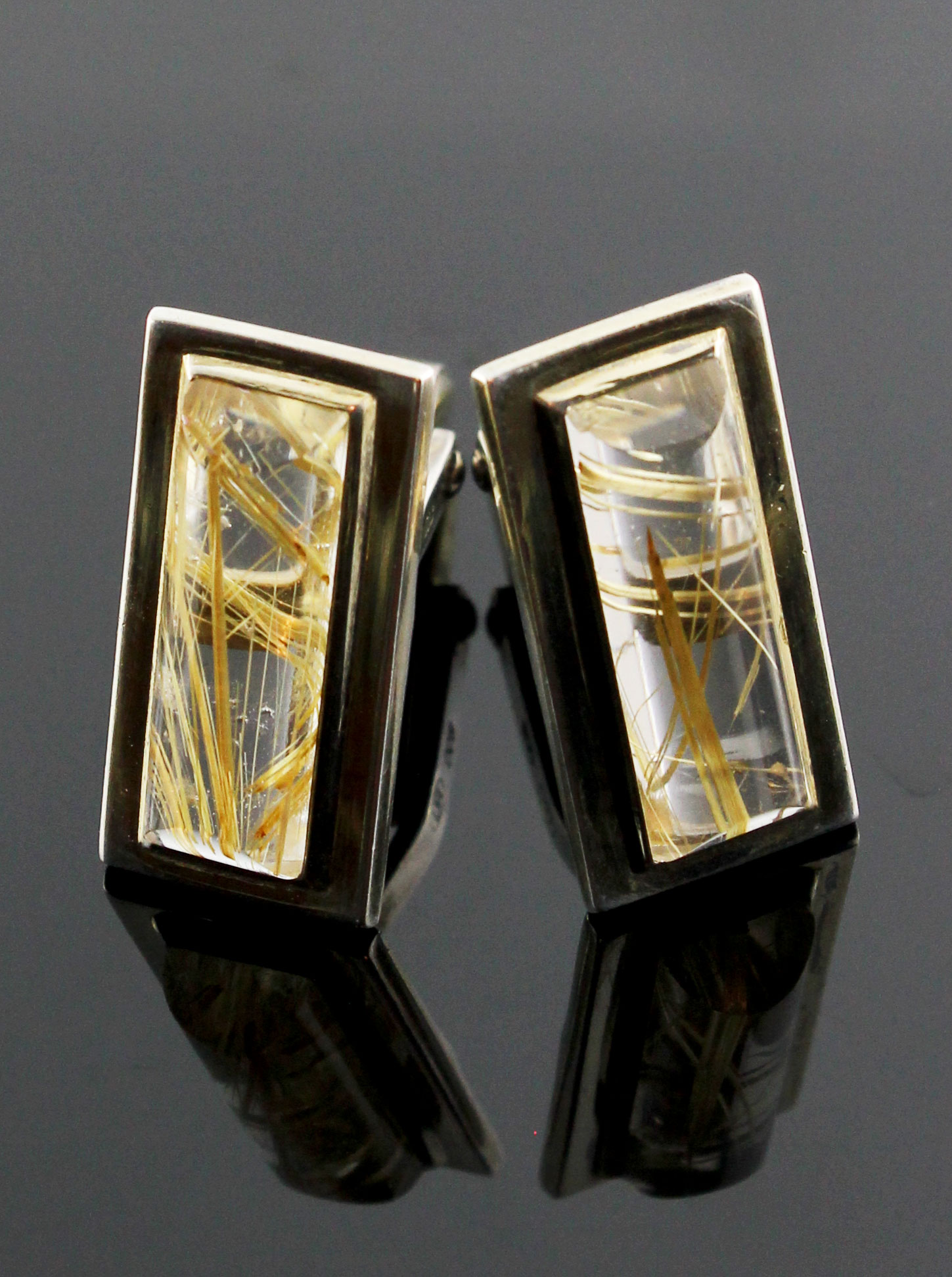 Rare silver cufflinks with rutile quartz