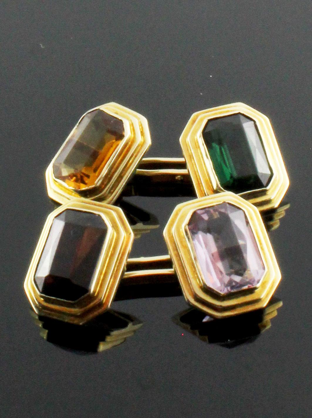 Colorful octagonal cufflinks