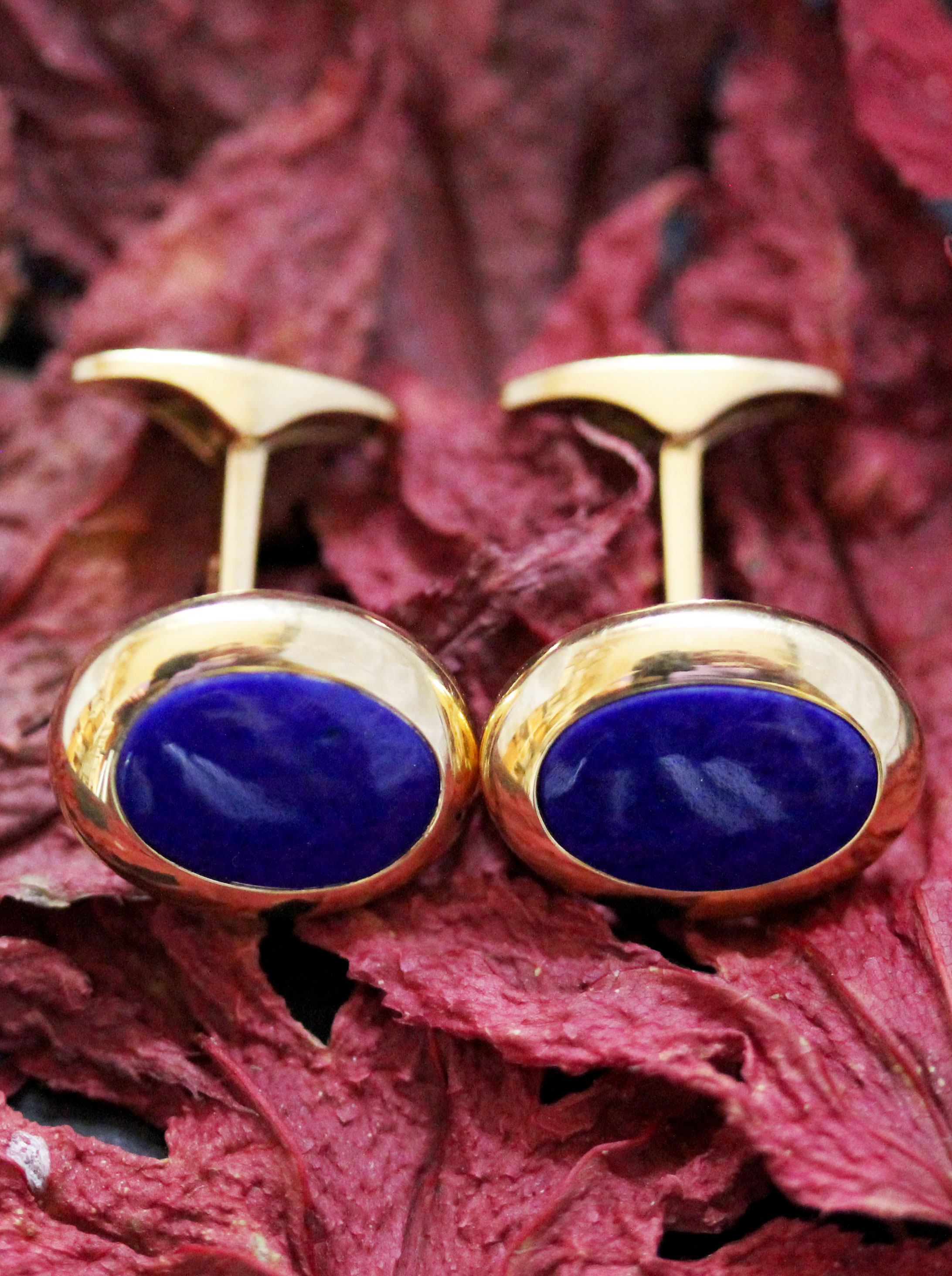 Gold cufflinks with lapis lazuli made by WEMPE