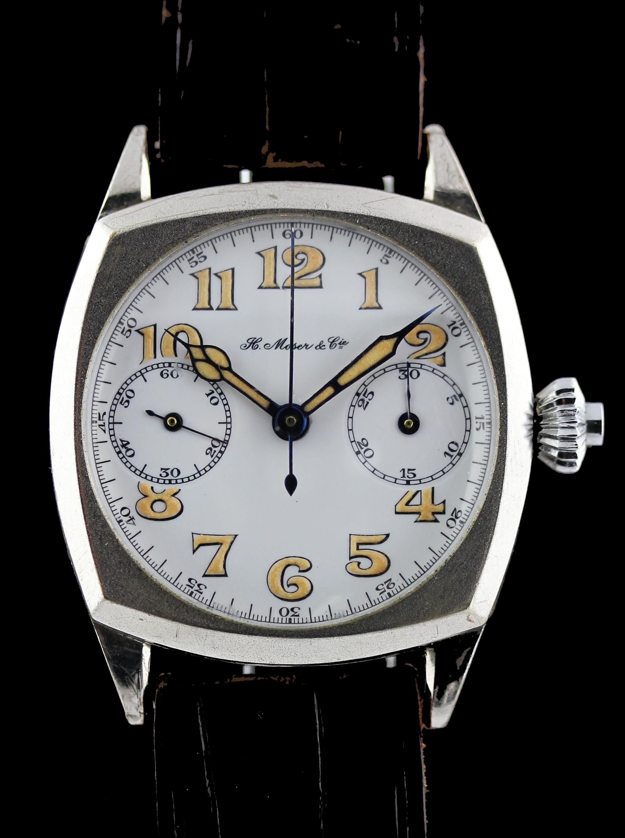 Rare Moser one-button-chronograph with enamel dial