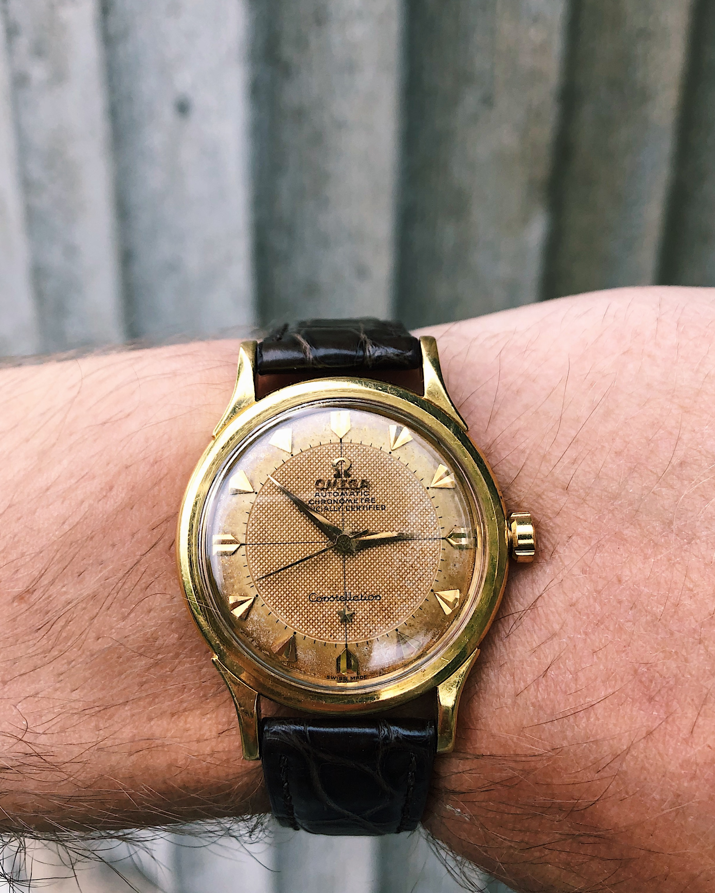 Omega Constellation with honey comb dial