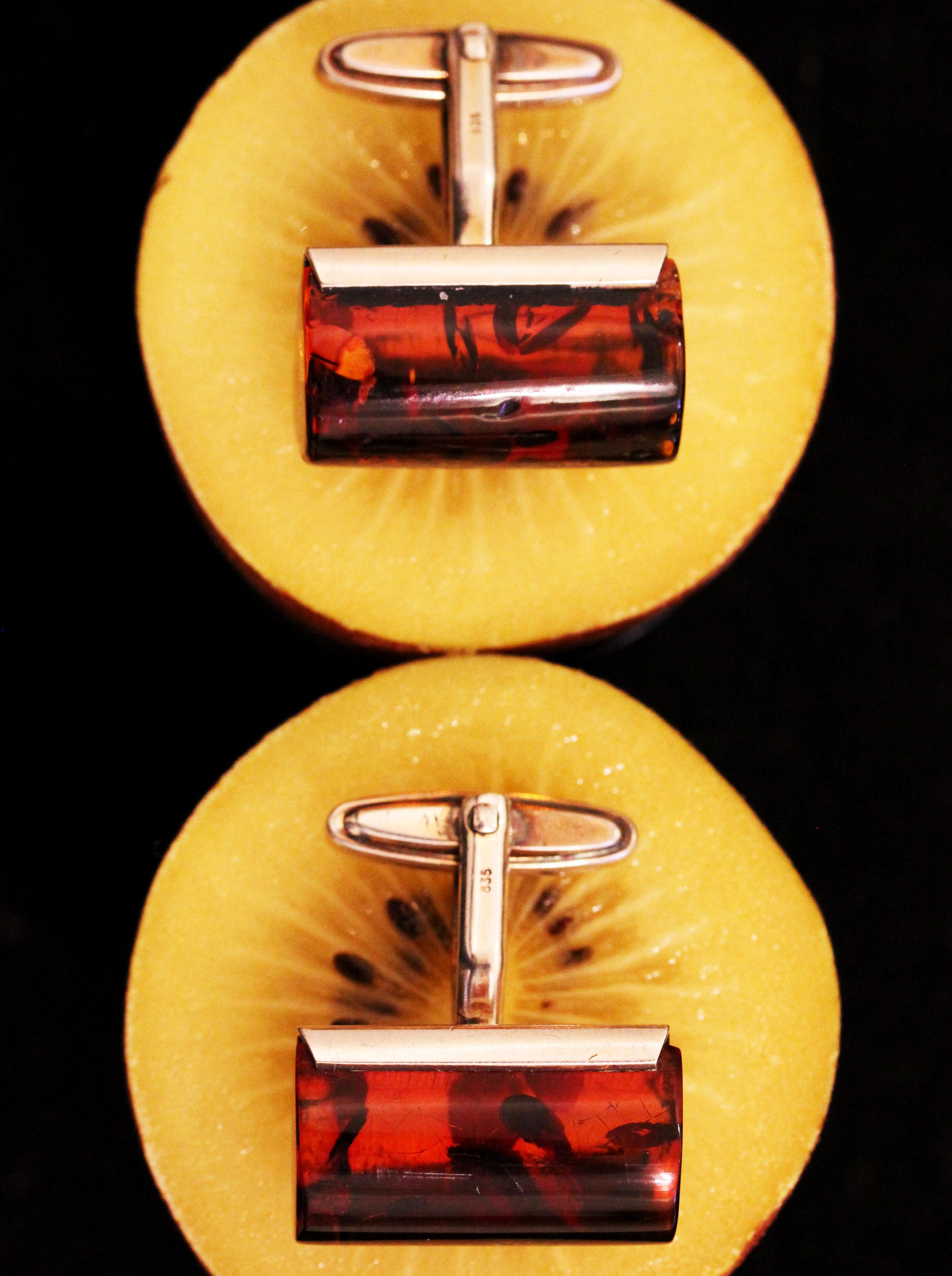 Cufflinks with amber