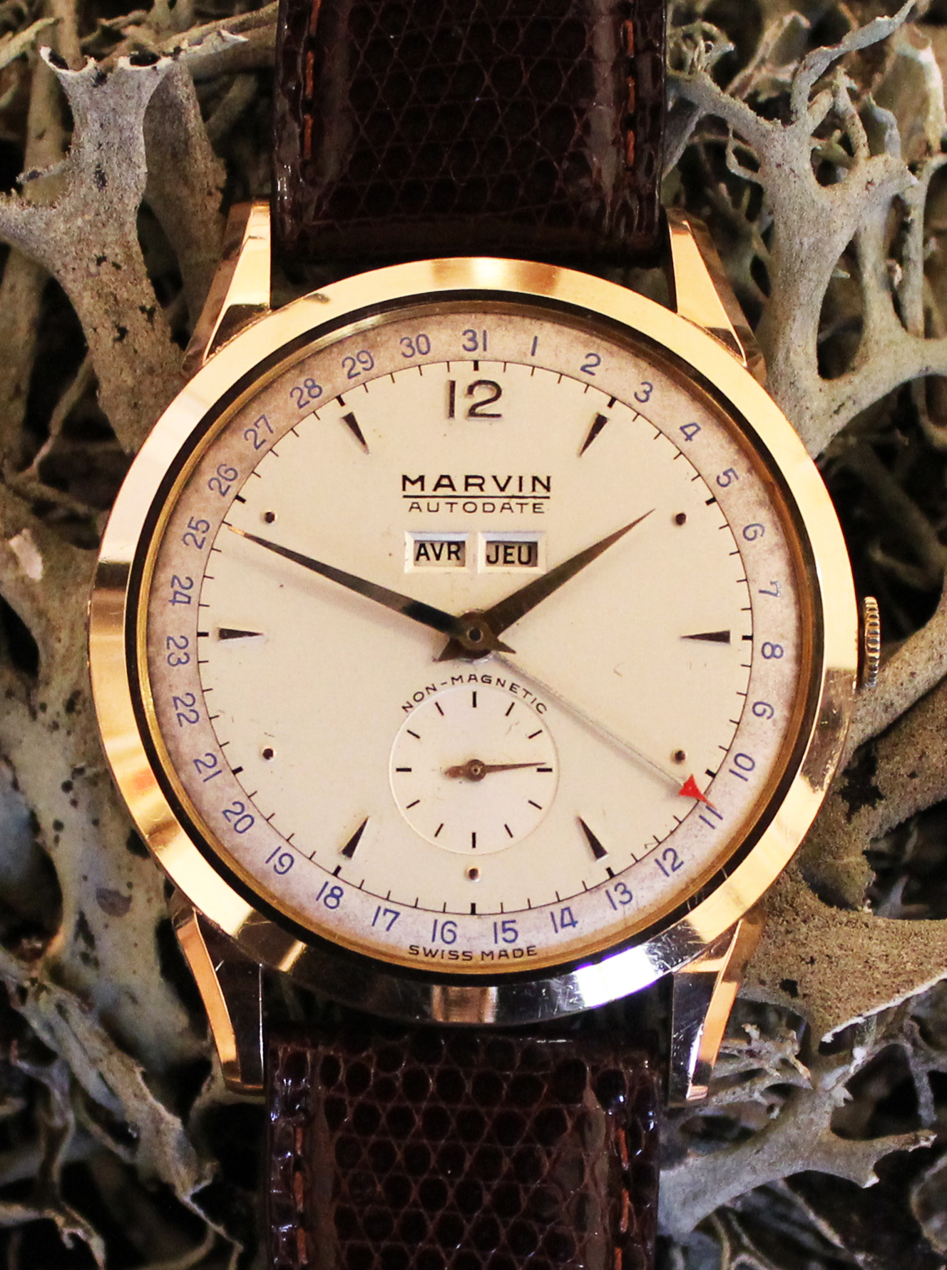 Marvin Autodate calendar in rose gold
