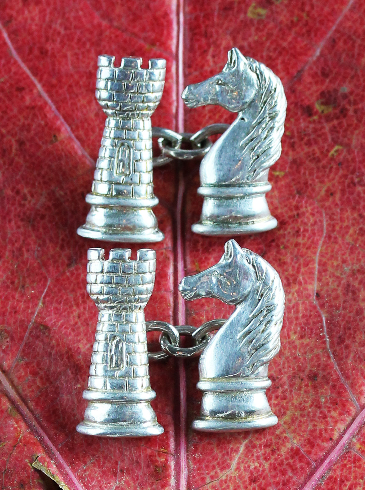 Pair of silver ches figures