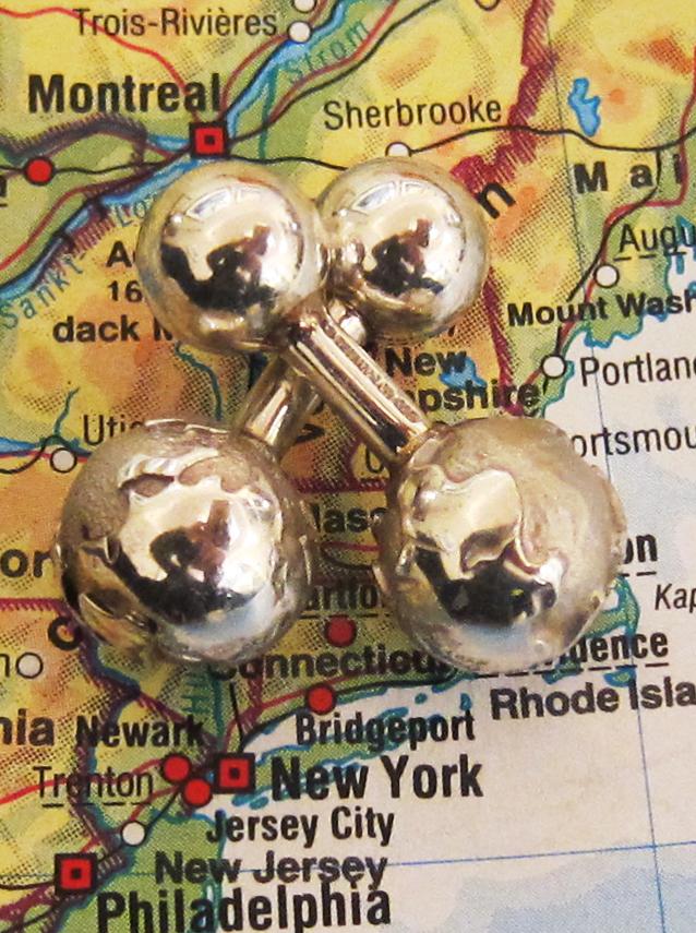Pair of globe cufflinks by TIFFANY