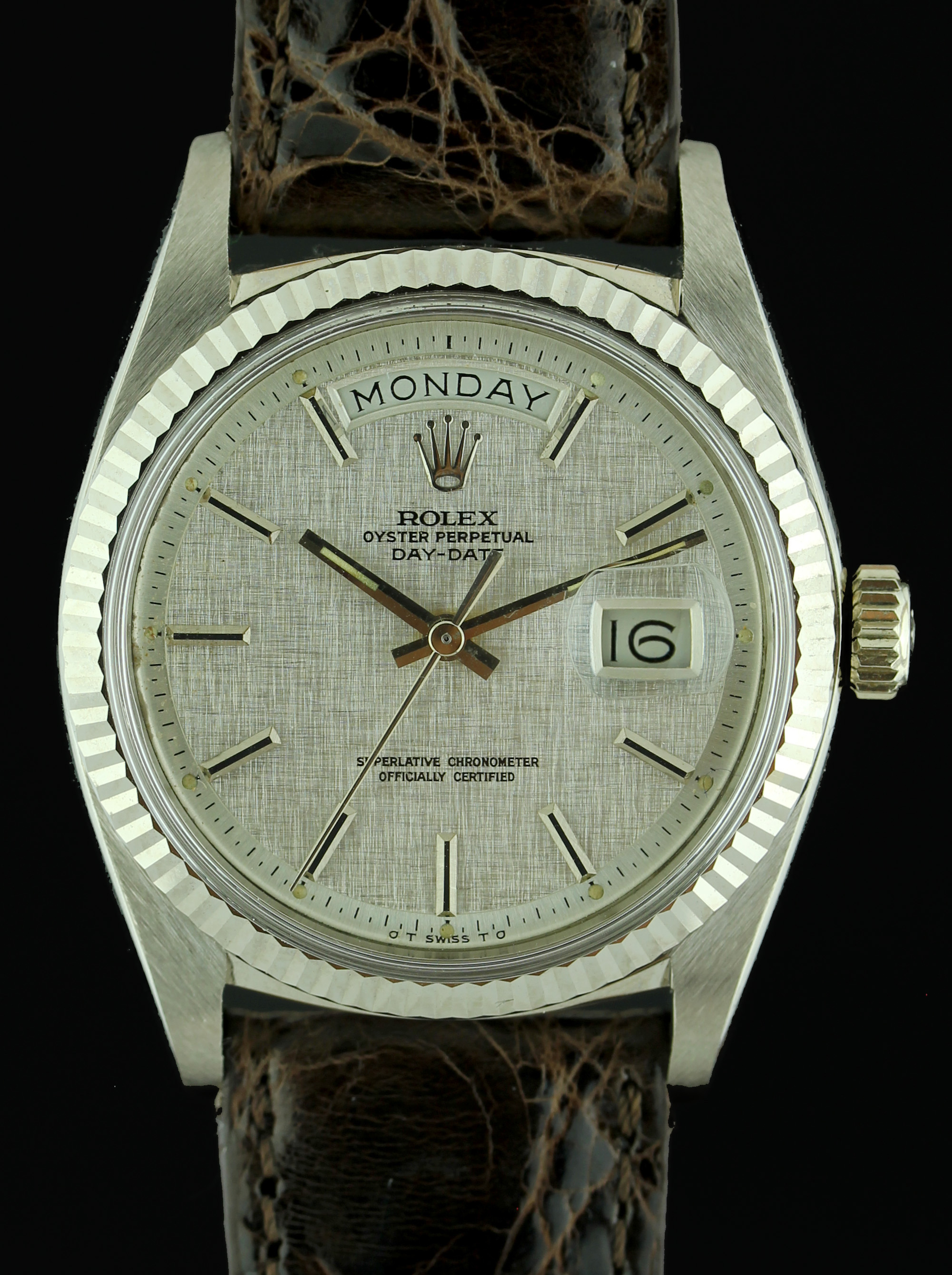 "ROLEX Day-Date in white gold from 1973 with ""linen"" dial"