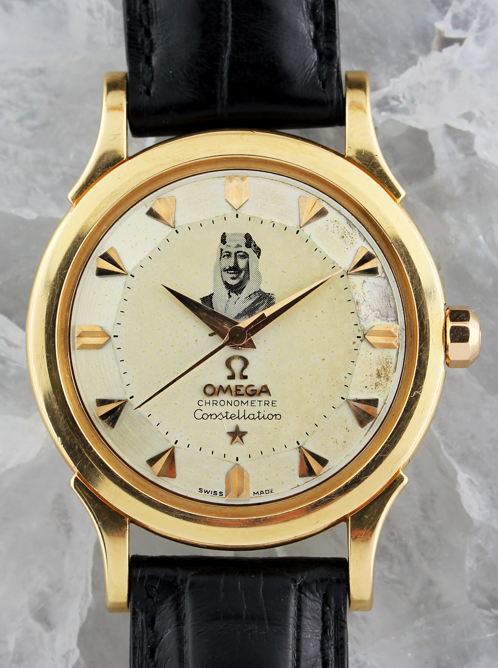 Extremely rare OMEGA Constellation with portrait of King Ibn Saud on the dial, ref 14381