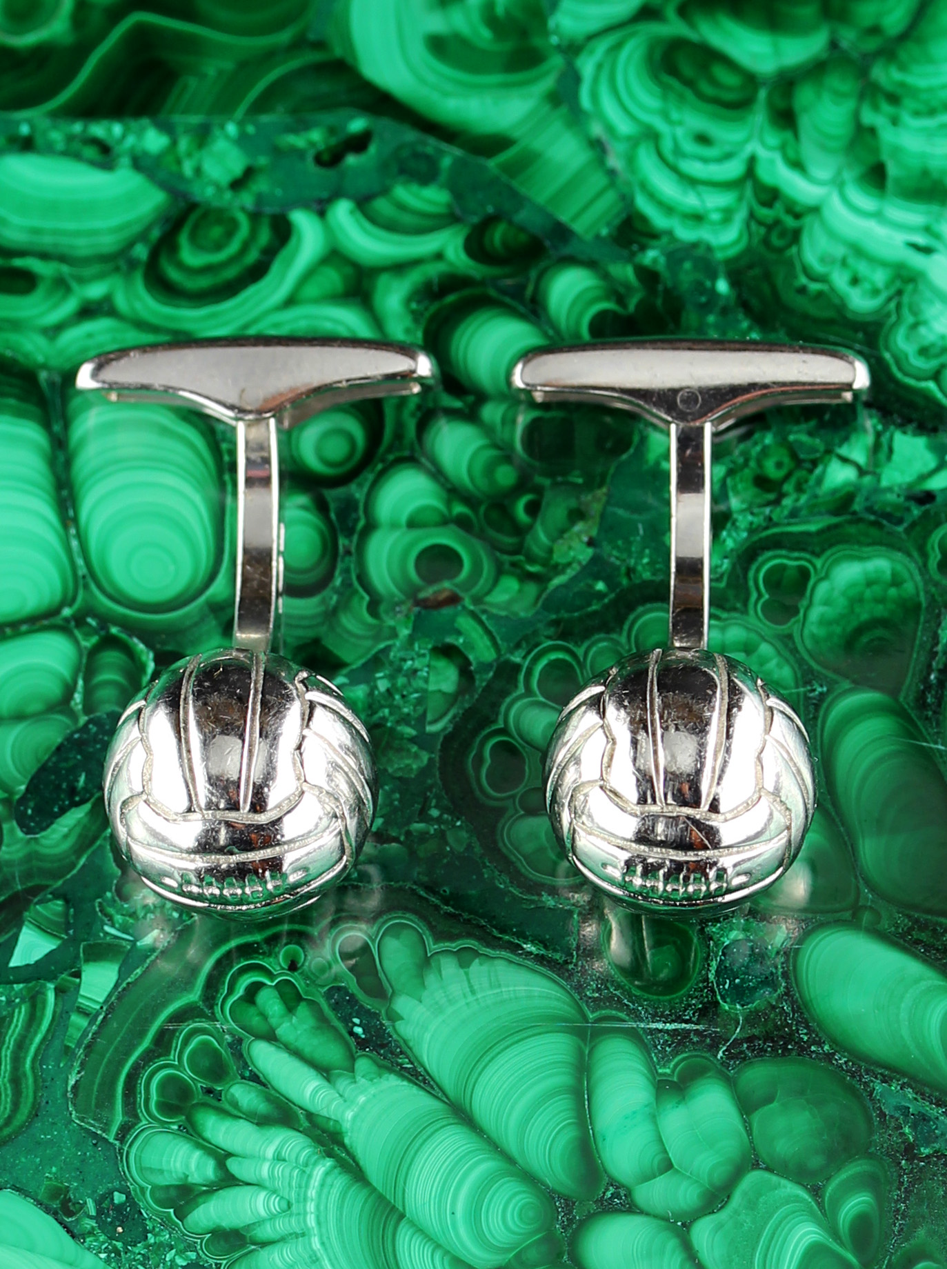 Pair silver of soccer cufflinks made by DUNHILL