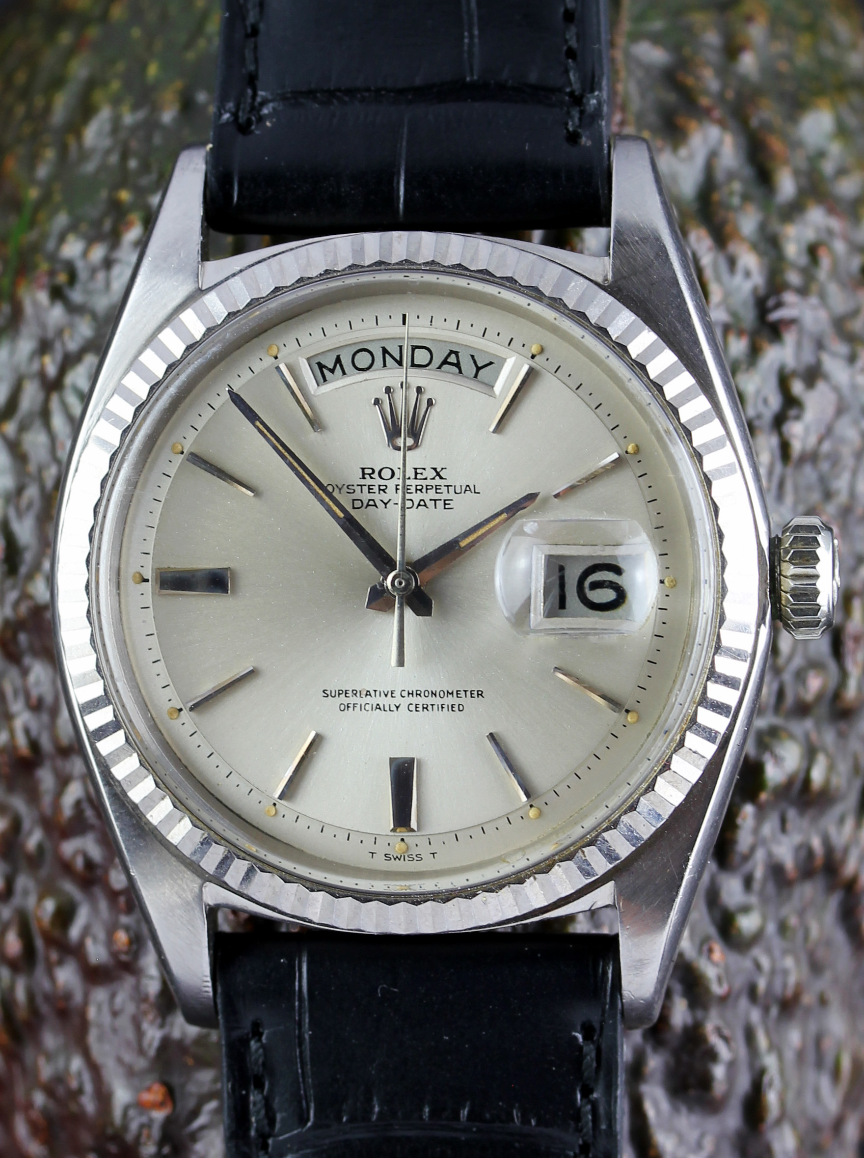 "Rolex Day-Date in white gold from 1963 rare with ""doorstop-dial"""