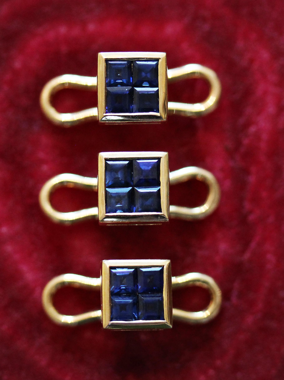 Set of 3 studs made by the Geneva jeweler adler