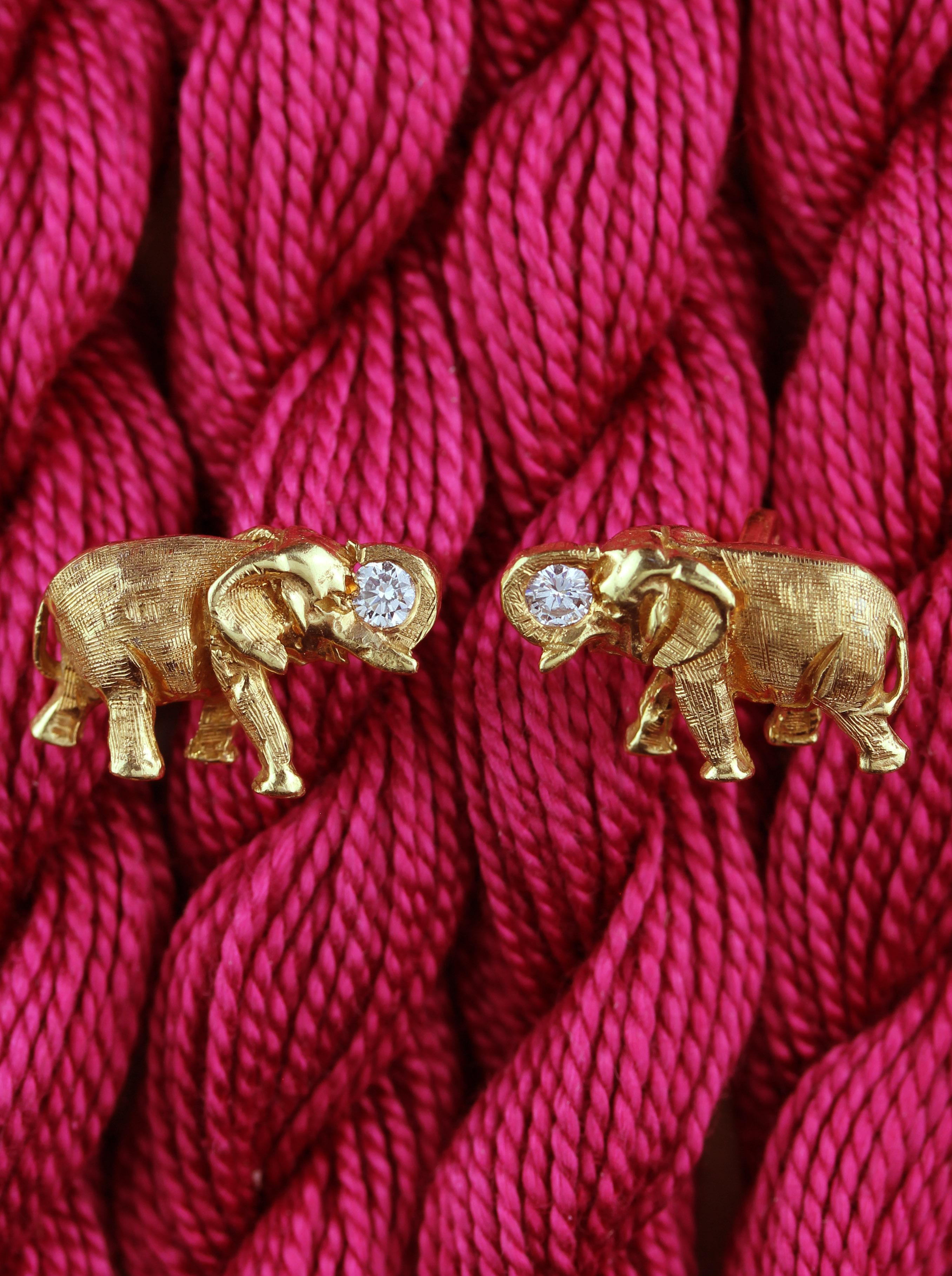 Handmade cufflinks in form of elephant with diamonds