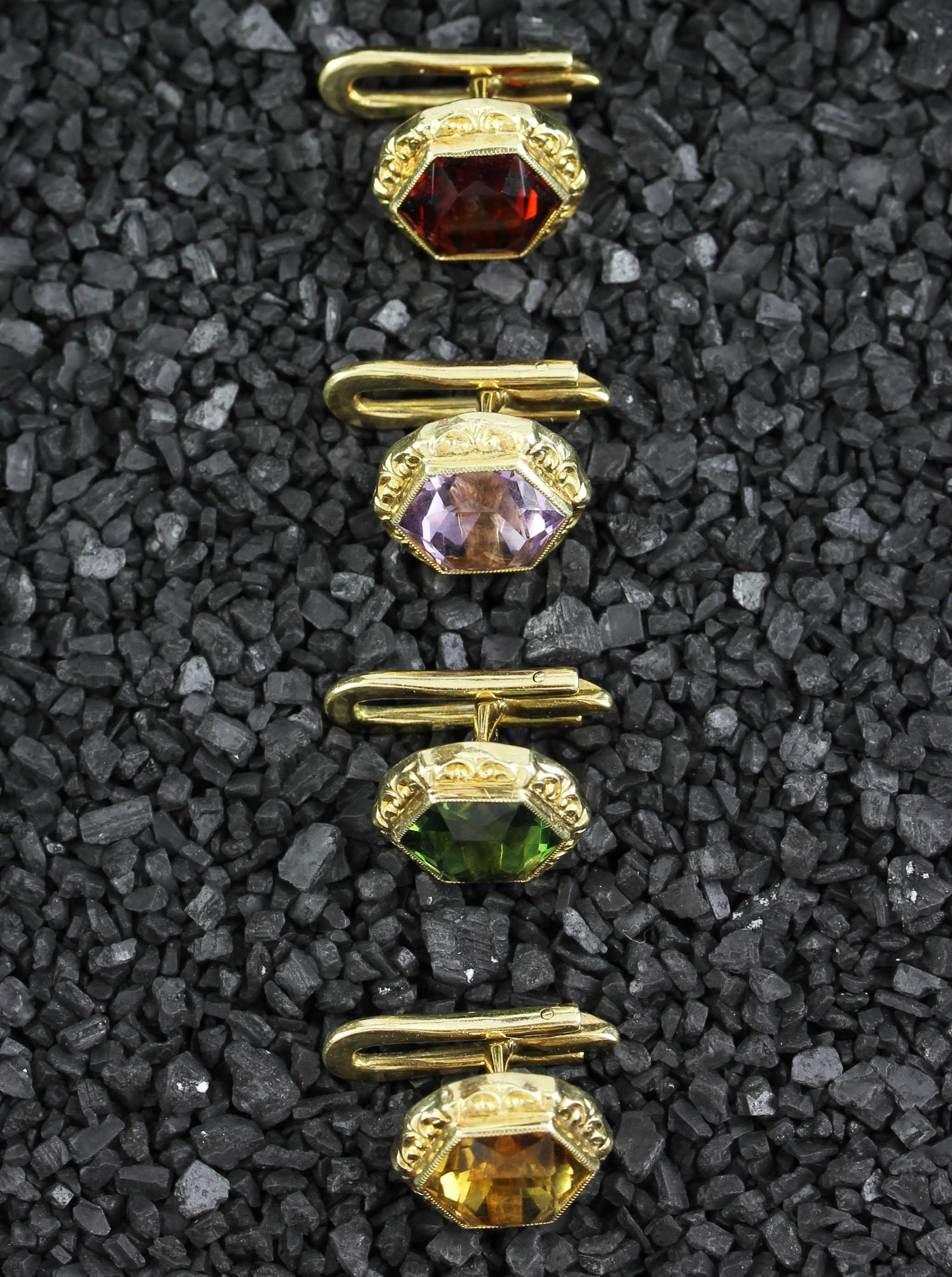 Colorful studs with four different gemstones