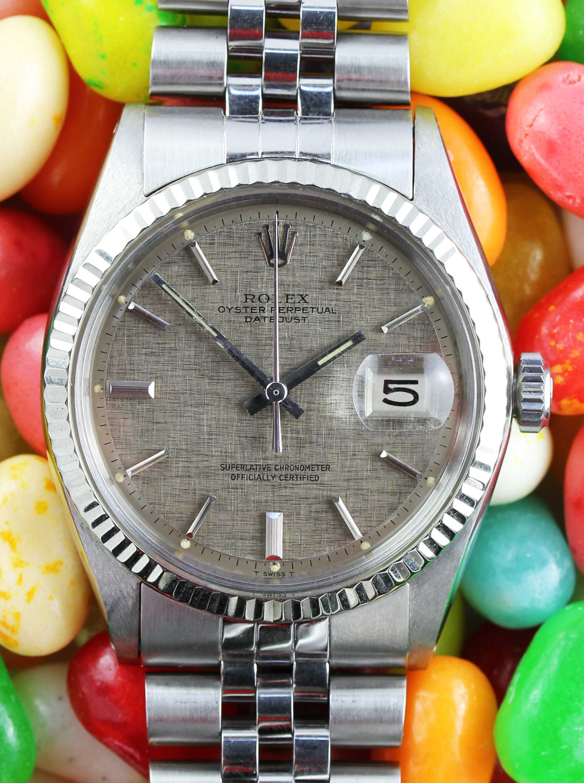 "ROLEX Datejust ref. 1601 from 1972 with ""linen"" dial"