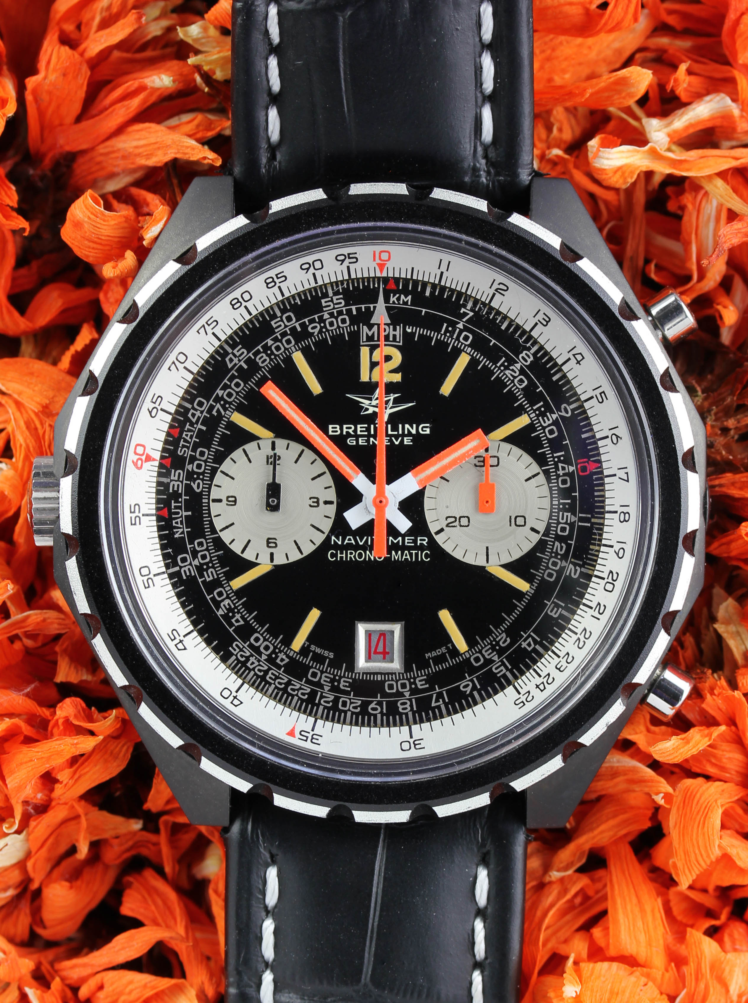 """Extremely rare BREITLING Navitimer Chrono-Matic in a """"Black Line"""" stainless steel case, ref. 1806"""