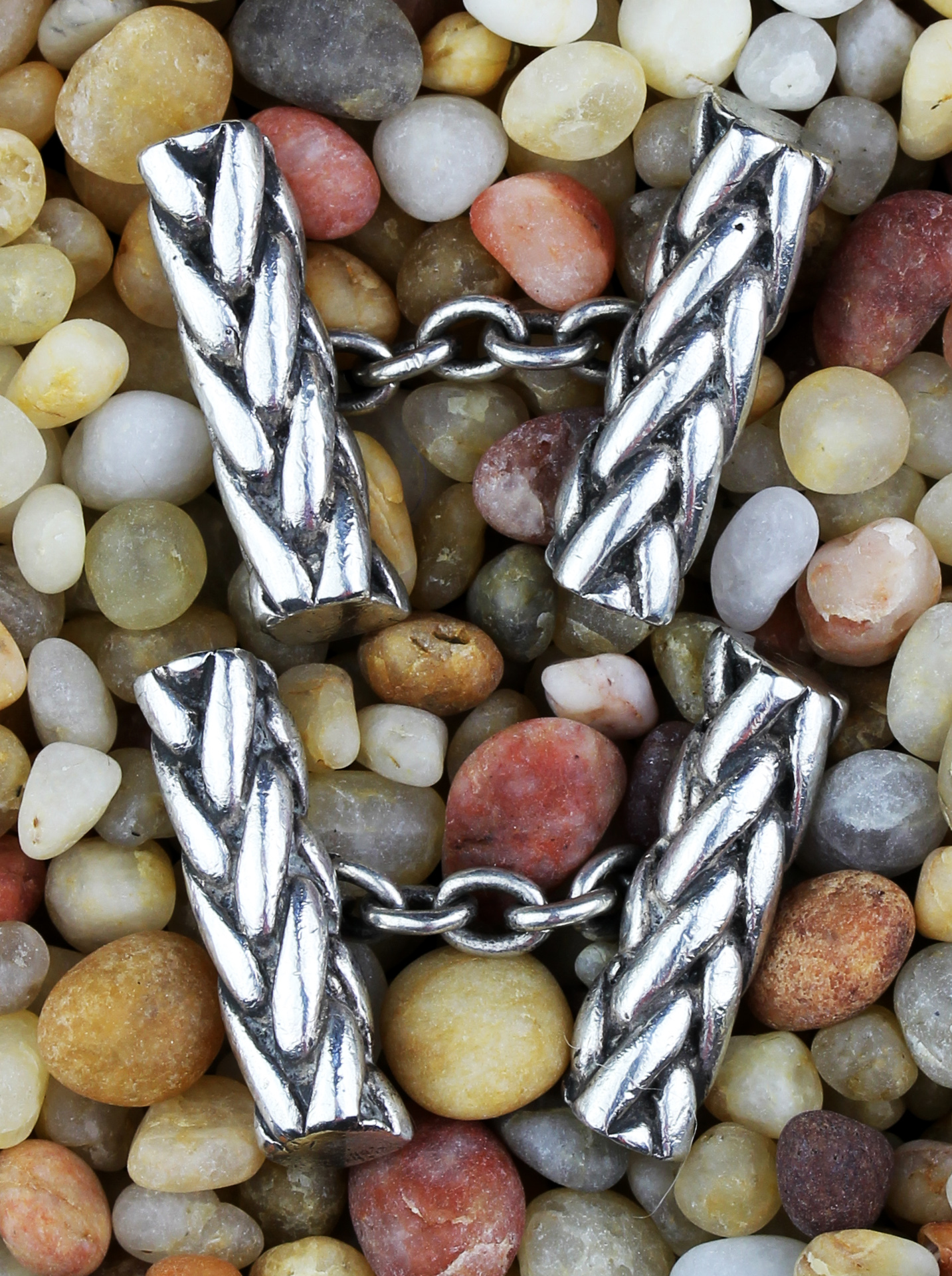 Vintage cordon cufflinks in silver