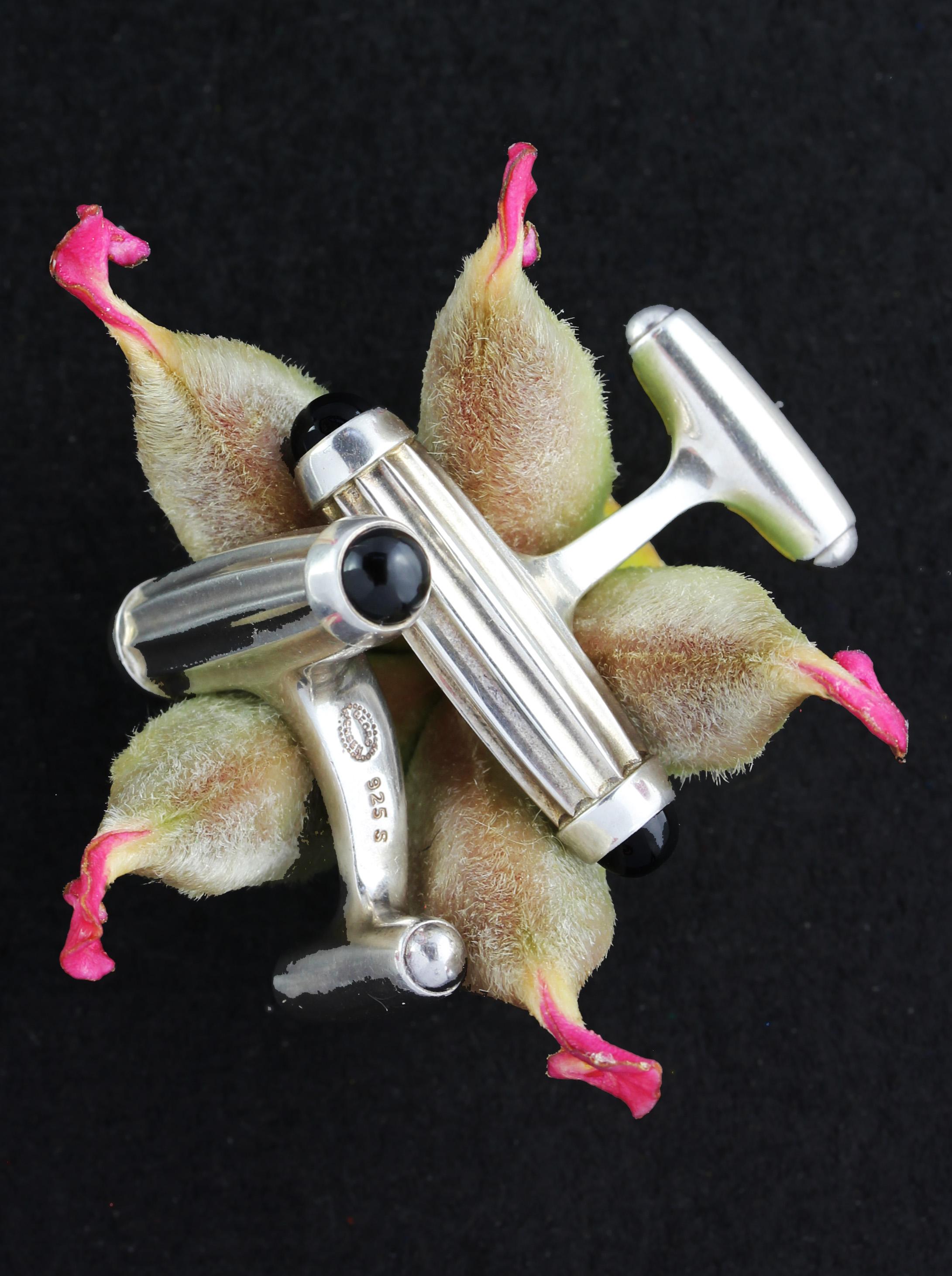 Rare GEORG JENSEN cufflinks with onyx