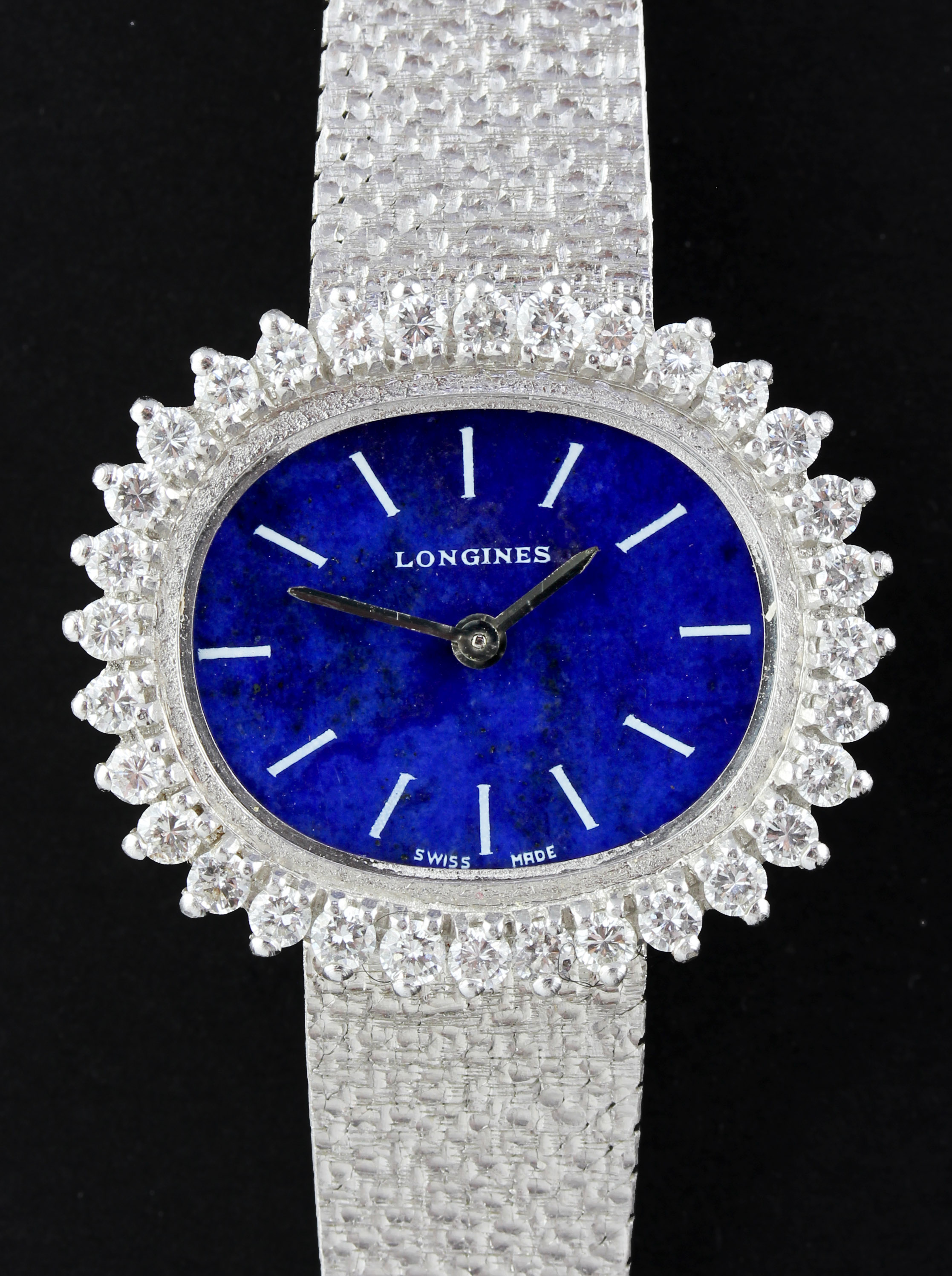 LONGINES Ladies dress watch in white gold with diamonds