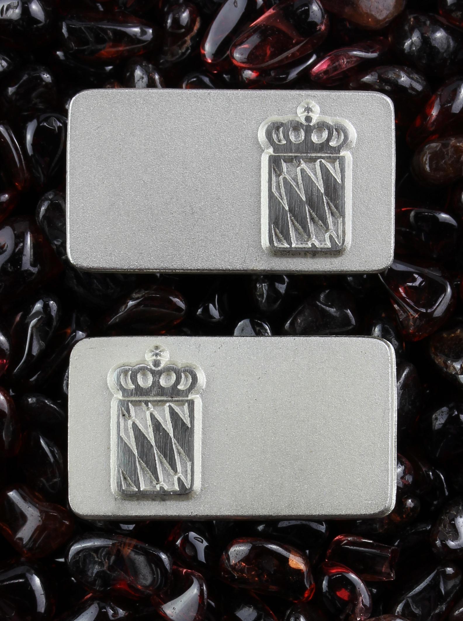 Silver cufflinks with Bavarian flag