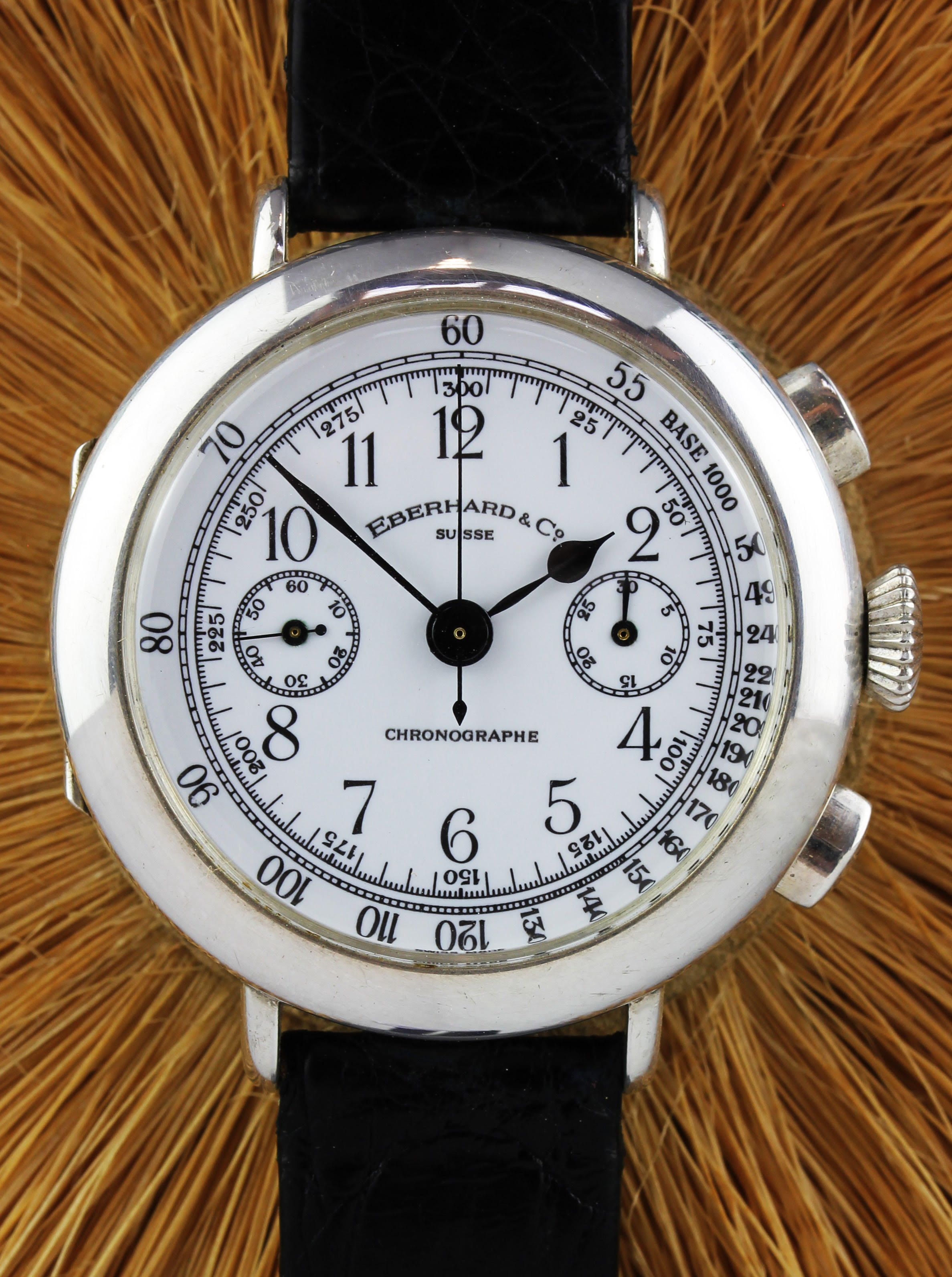 EBERHARD chronograph in Sterling Silver with enamel dial