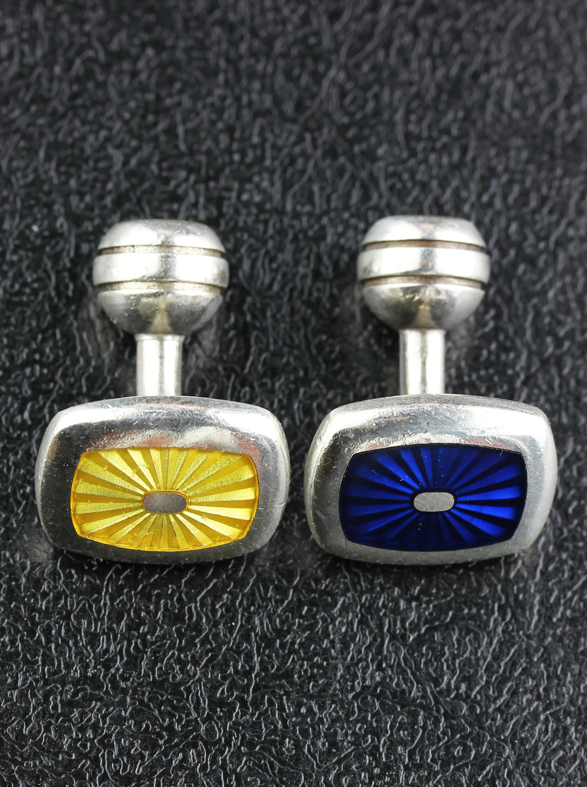 Cufflinks in Sterling Silver with blue & yellow enamel