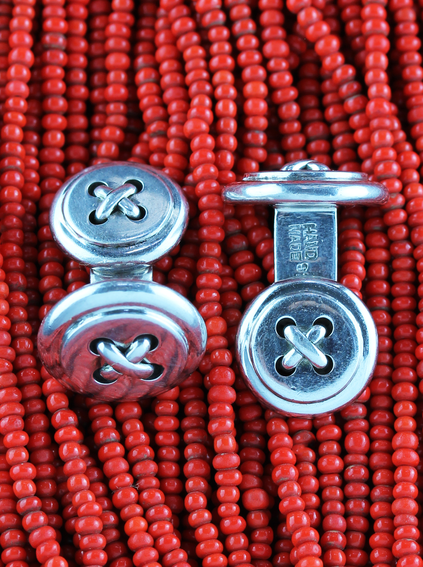 Handmade classic button cufflinks in Sterling Silver