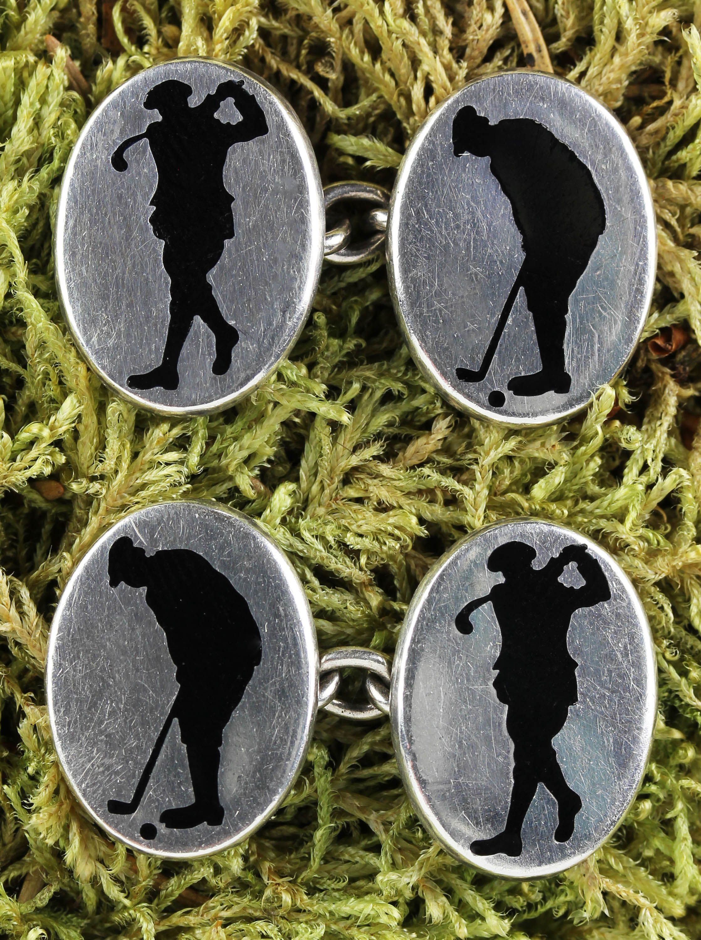 Cufflinks with golf player in Sterling Silver made by  Deakin & Francis