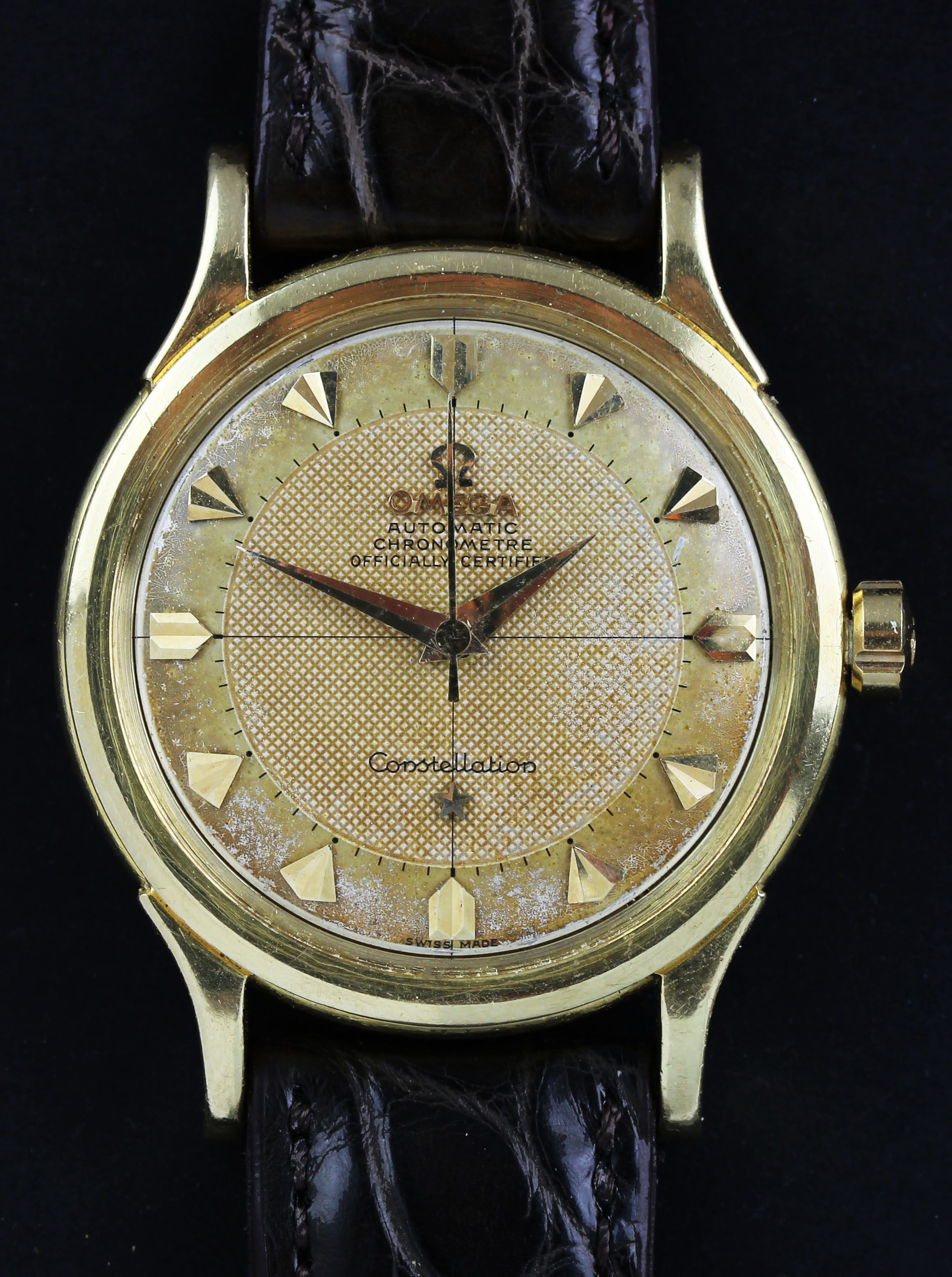 "Gold Omega Constellation from 1954 with ""Honeycomb Pie Pan Dial"""