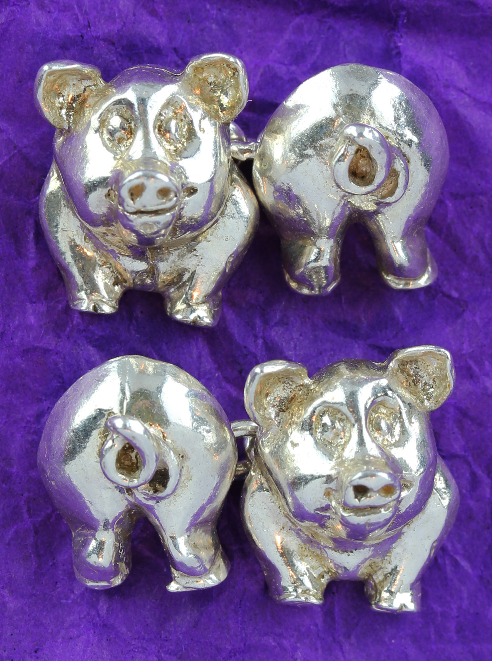 "Solid made cufflinks with with ""lucky pigs"" in Sterling Silver"