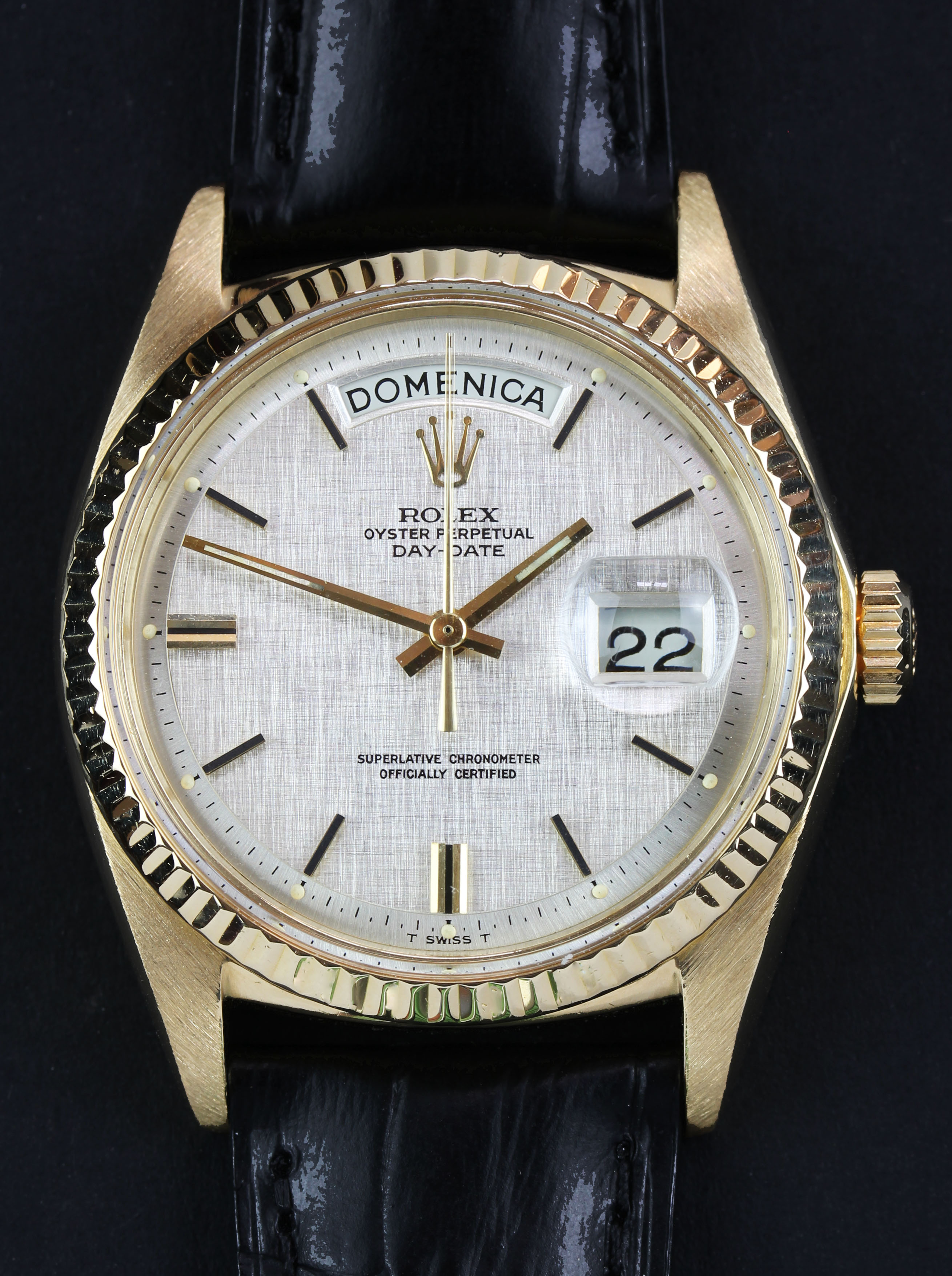 ROLEX Day-Date from 1972 with a rare linen dial