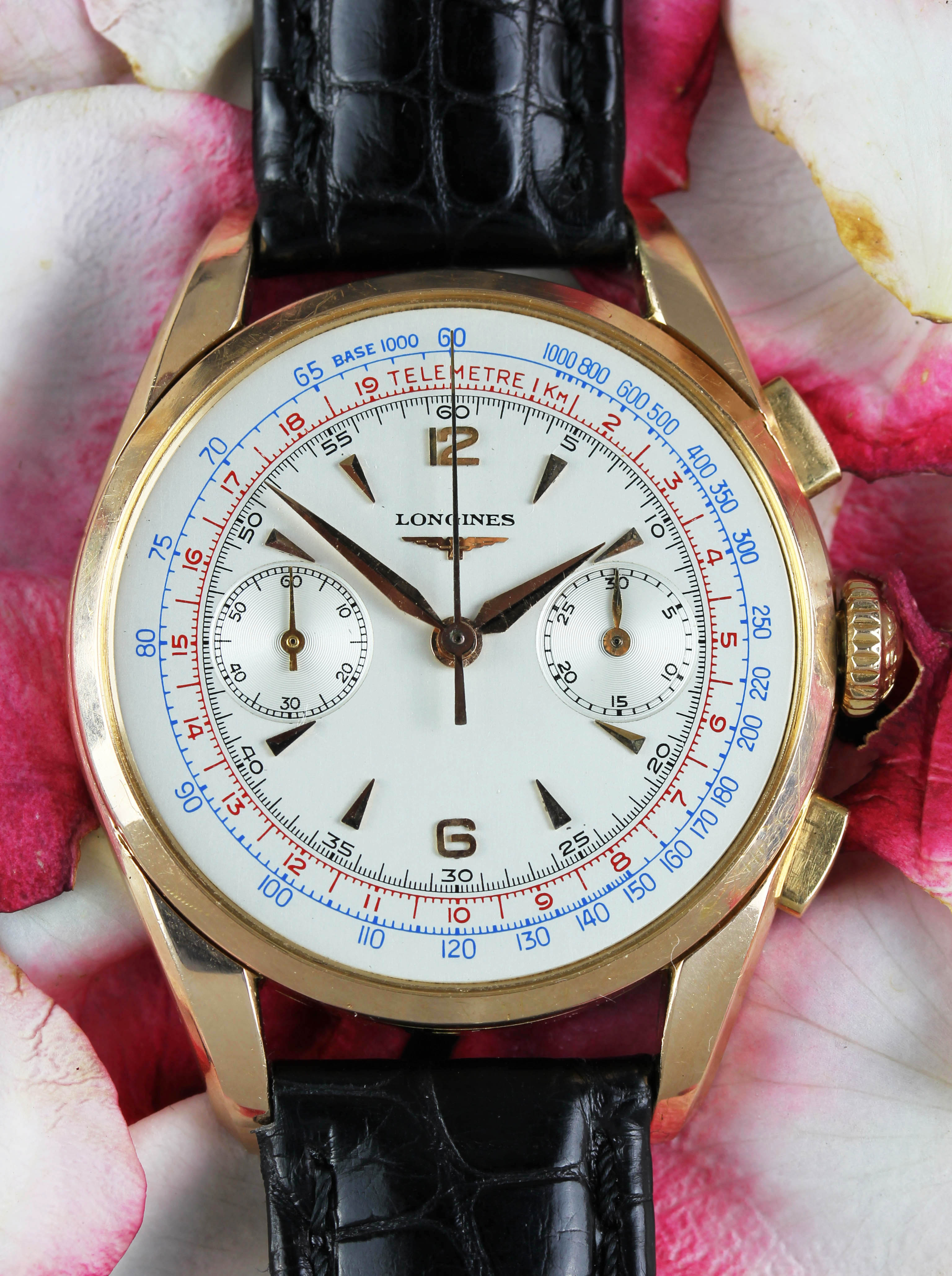 Big LONGINES chronograph in pink gold from 1958