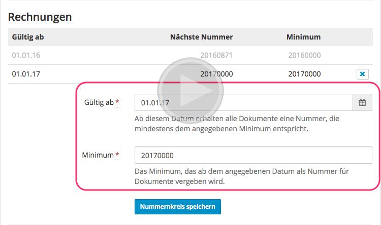 Neues Jahr Neue Rechnungsnummern