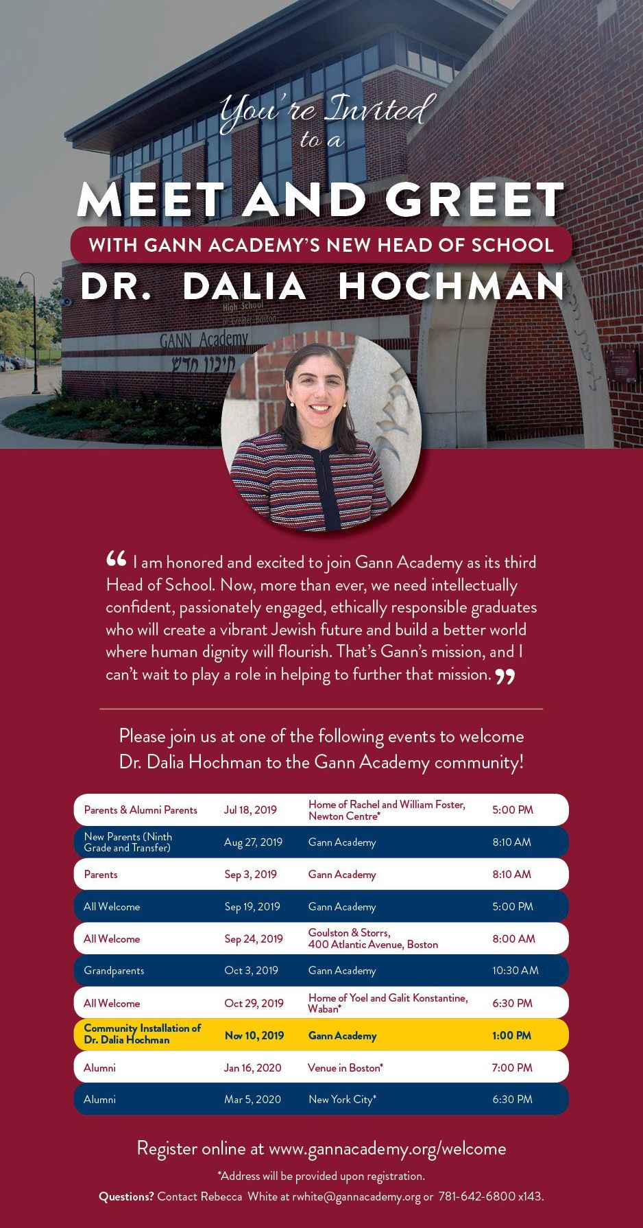 Gann Academy's new Head of School invites parents and alumni to a 'Meet & Greet' event