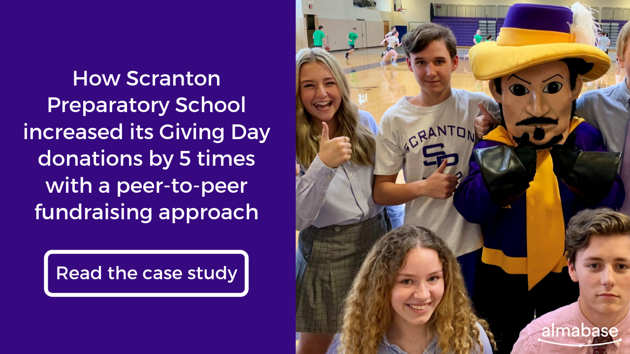 Scranton Preparatory School increased its Giving Day donations by 5 times with a peer-to-peer fundraising approach