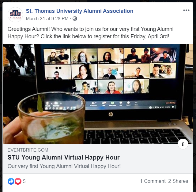 St. Thomas University School of Law's Virtual Happy Hour event