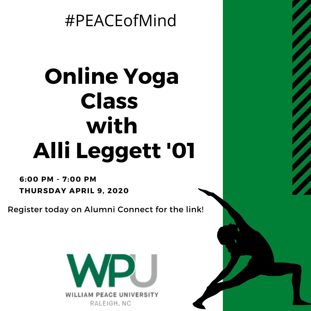 WPU's Peace of Mind Online Yoga class