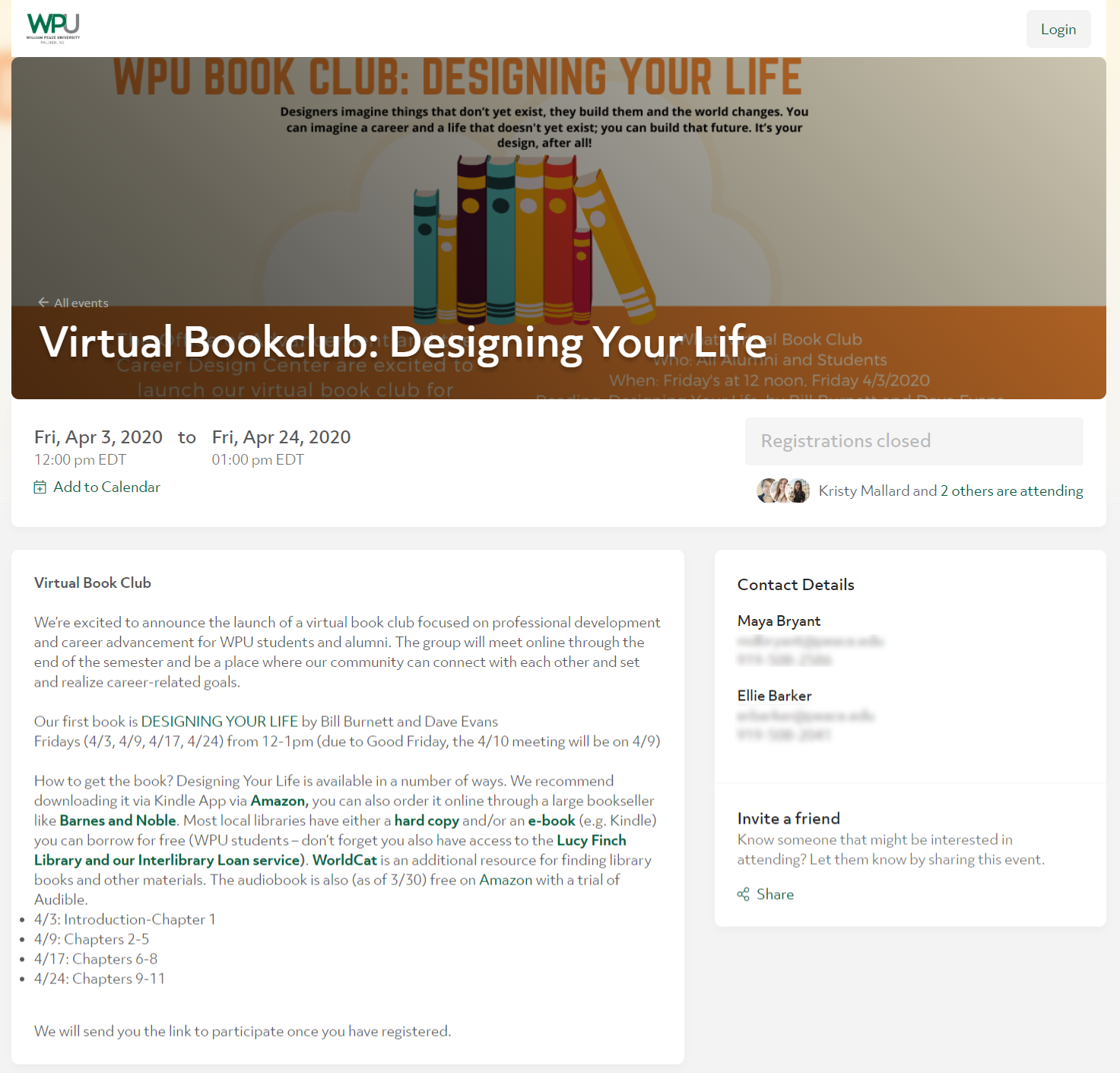 WPU's Virtual Book Club event