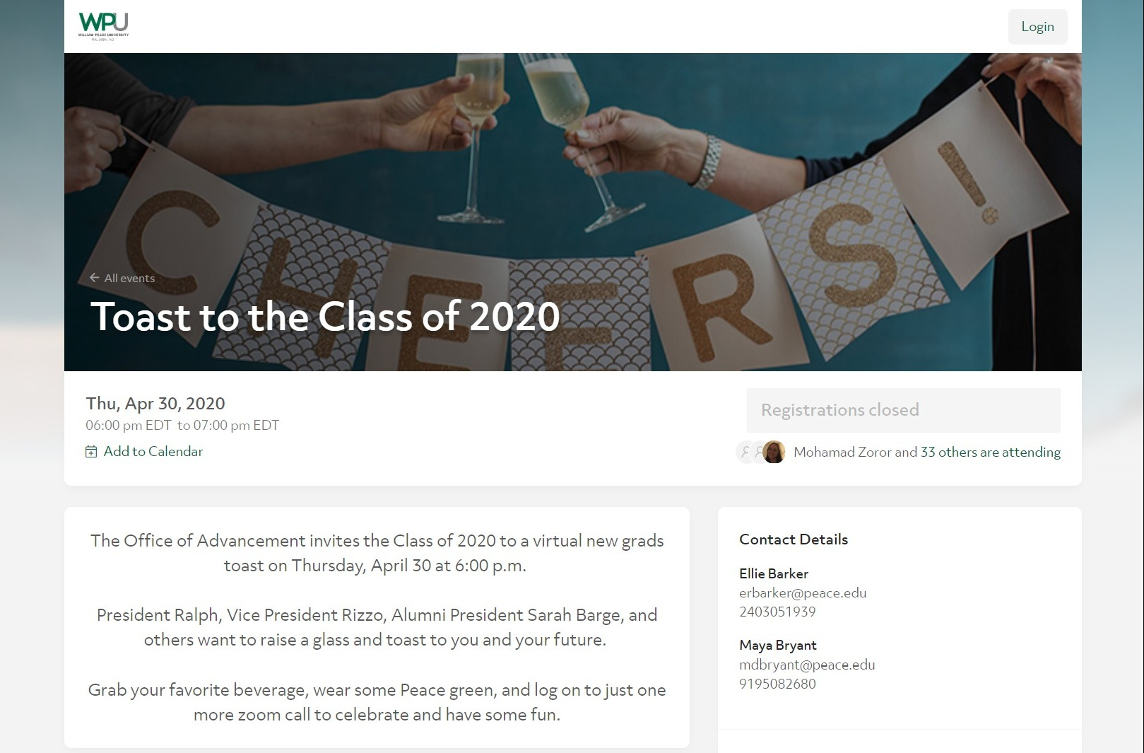 William Peace University welcomed the Class of 2020 to the Alumni Association virtually
