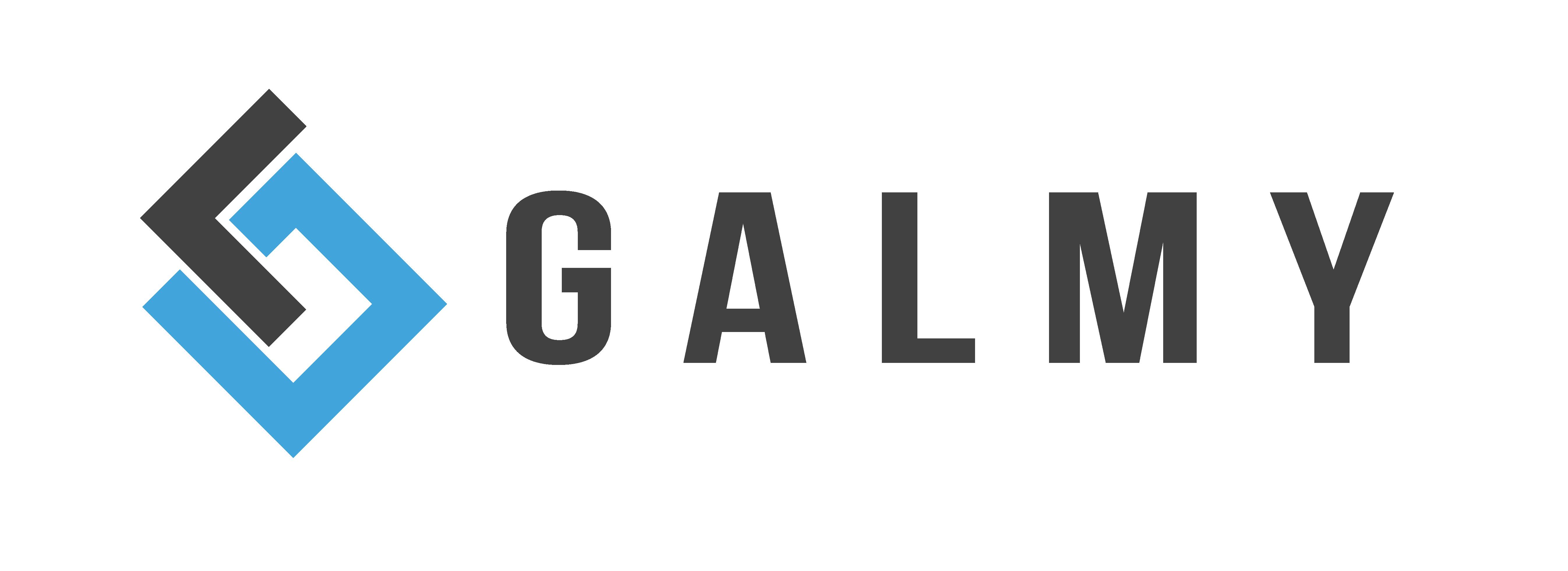 Galmy Global Logo Grey and Blue