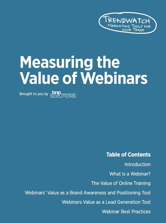 Measuring the Value of Webinars