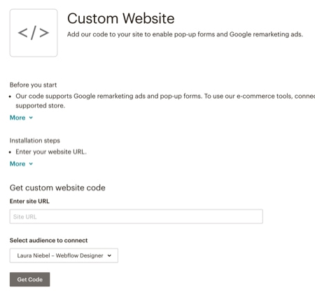 Integrating MailChimp into your Webflow site - Screenshot 2