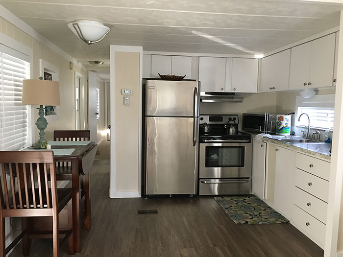 Rental mobile home kitchen