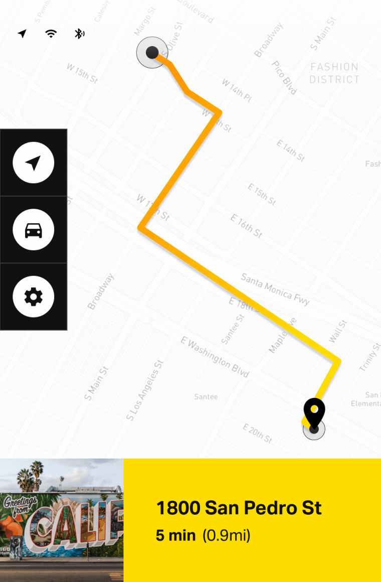 vibrant yellow electric vehicle touch screen ui